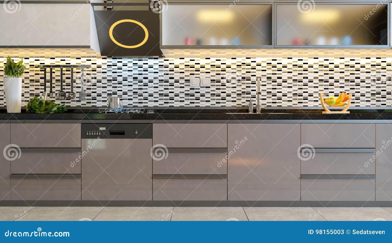 Cappuccino Color Brown Kitchen Design Idea Stock Illustration