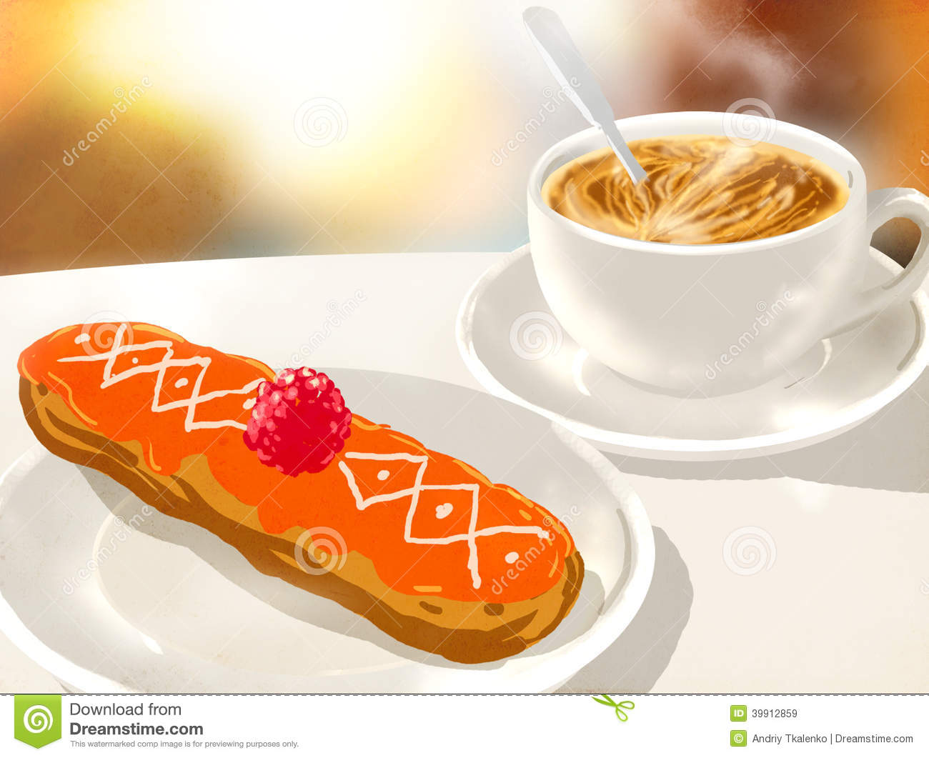 Cappuccino Cup And Eclairs Stock Illustration - Image: 39912859