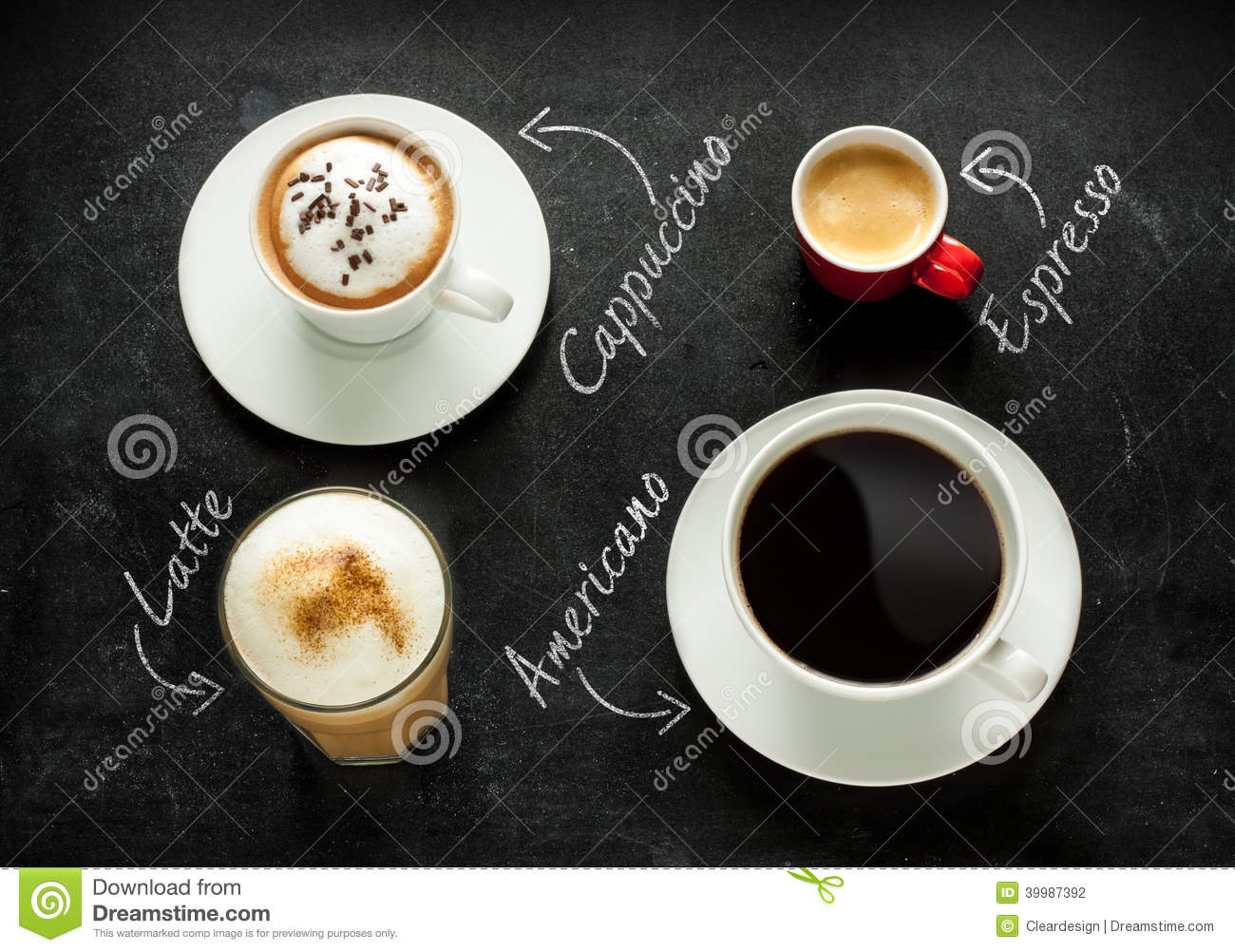 Cappuccino, Espresso, Americano And Latte Coffee On Black ...