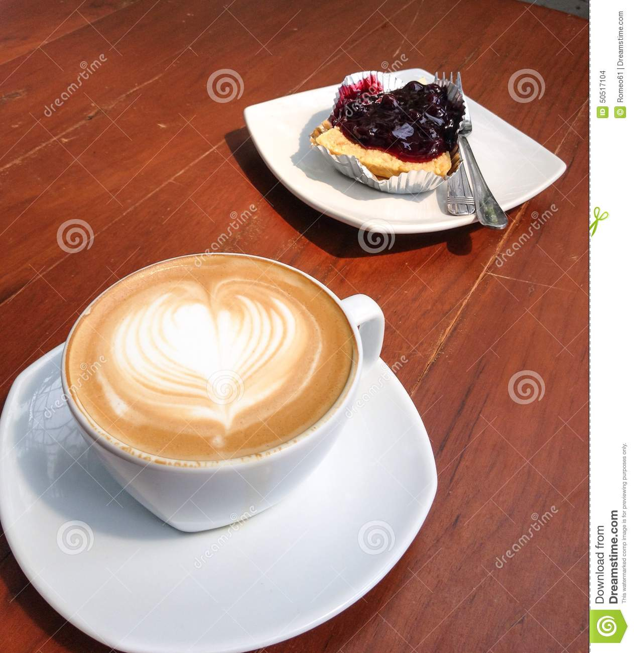 Cappuccino And Blueberry Pastry Stock Photo - Image: 50517104