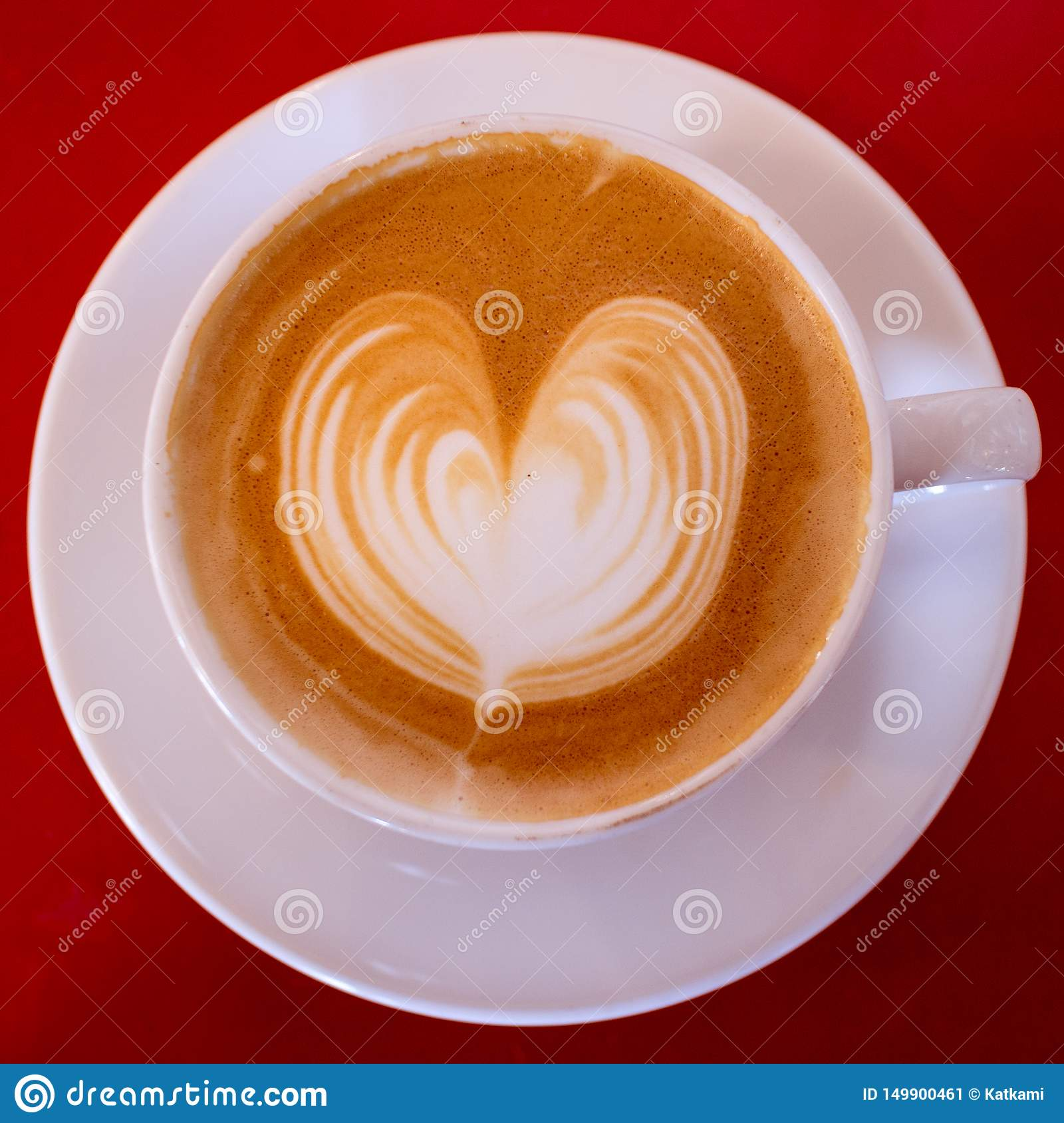 Cappuccino with Heart in White Mug