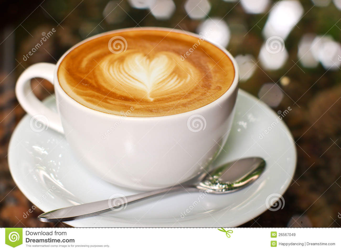 Cappuccino Or Latte Coffee With Heart Royalty Free Stock Images ...