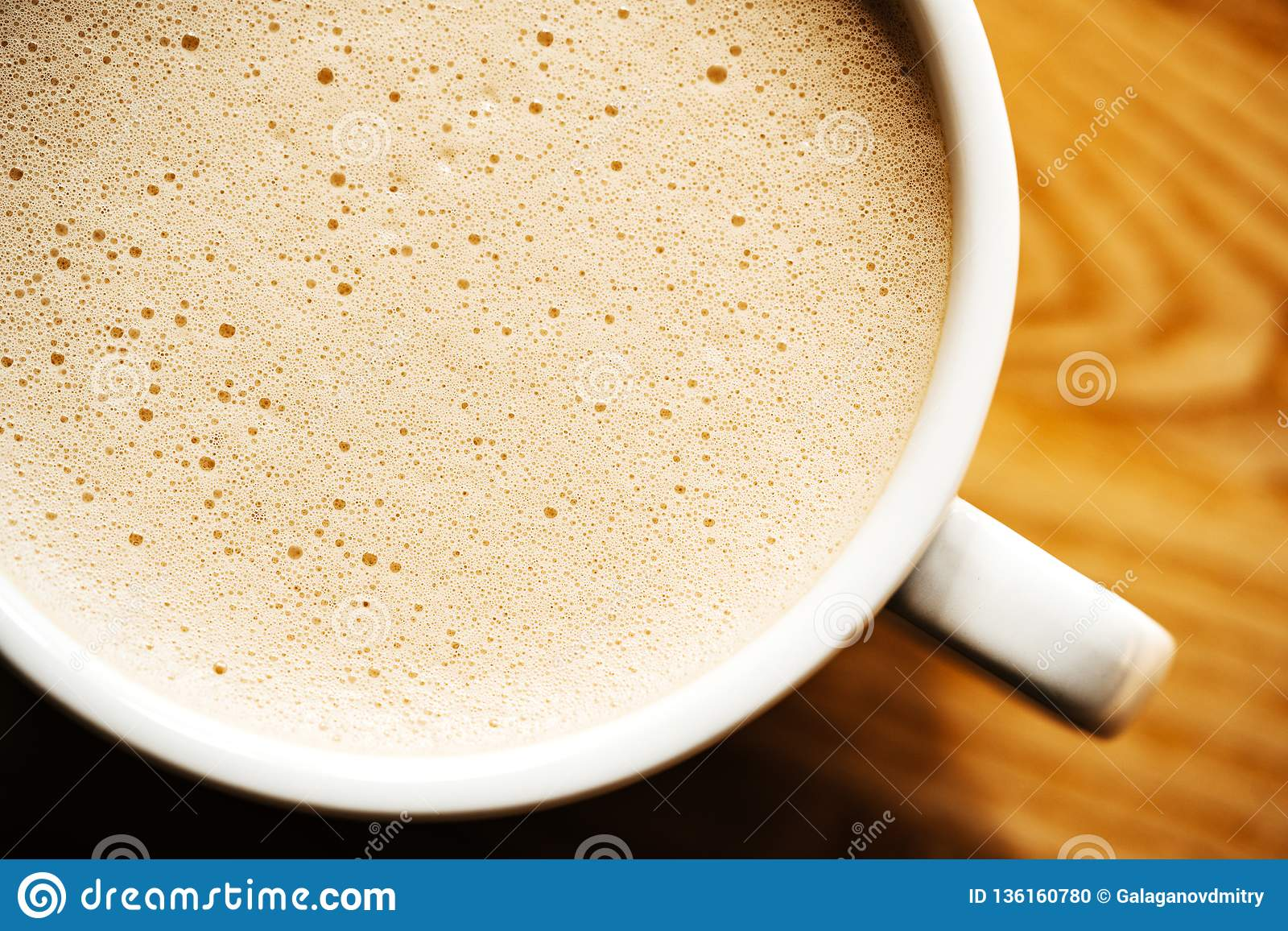 Cappuccino Or Latte With Frothy Foam Coffee Cup Top View