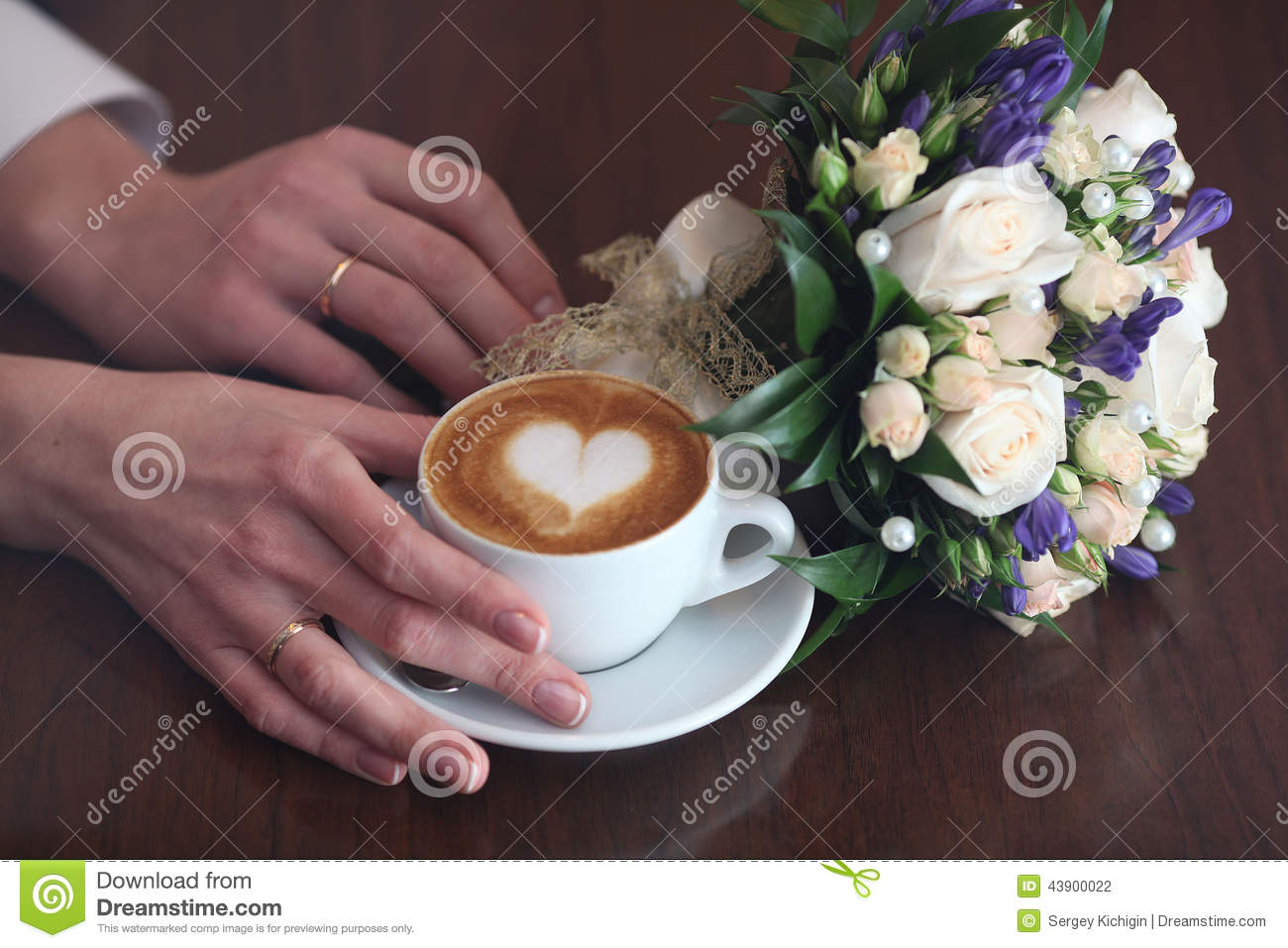 Cappuccino Lovers Flowers Heart Coffee Stock Photo Image