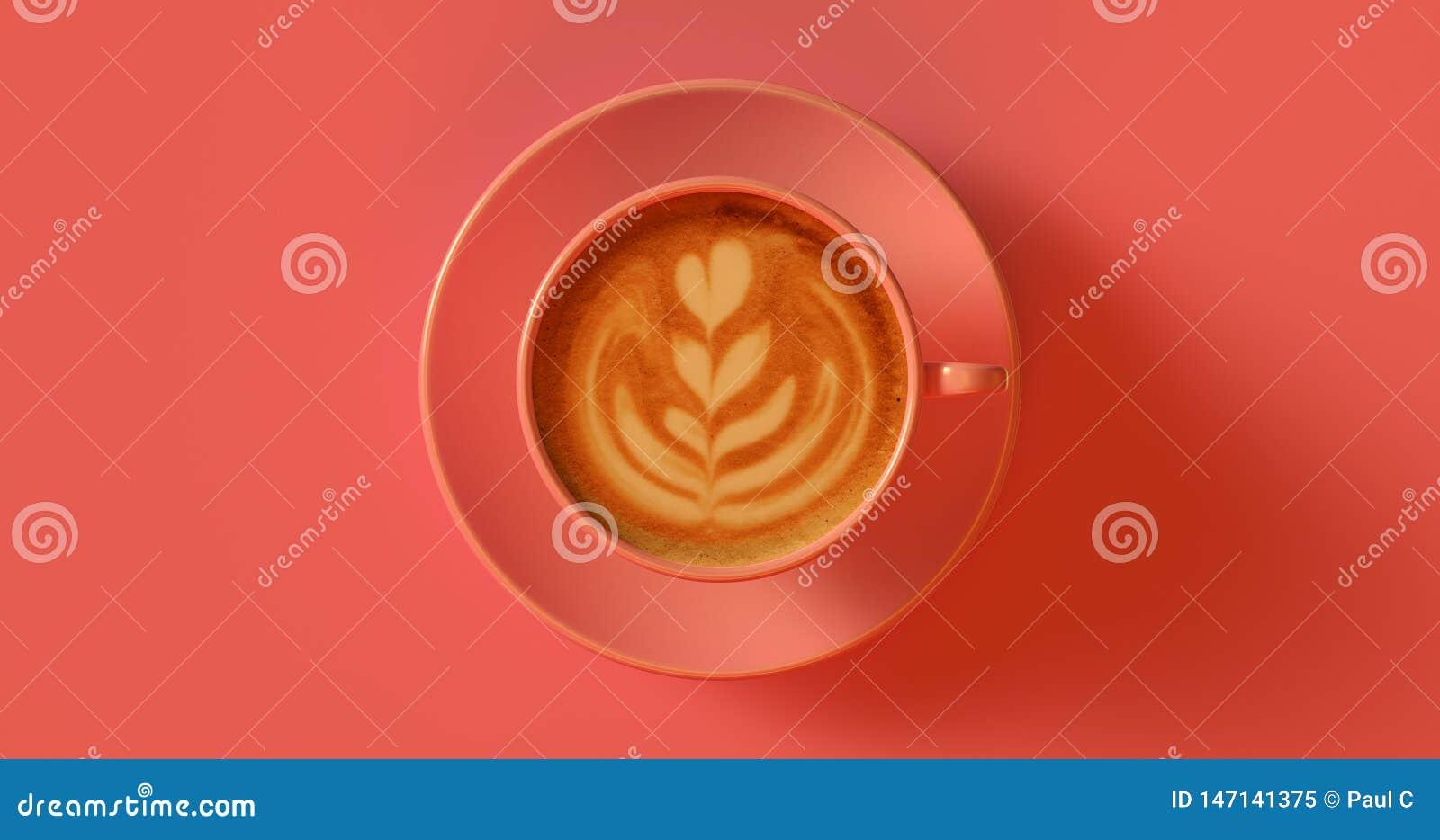 Cappuccino rosa della tazza di caffè della pesca