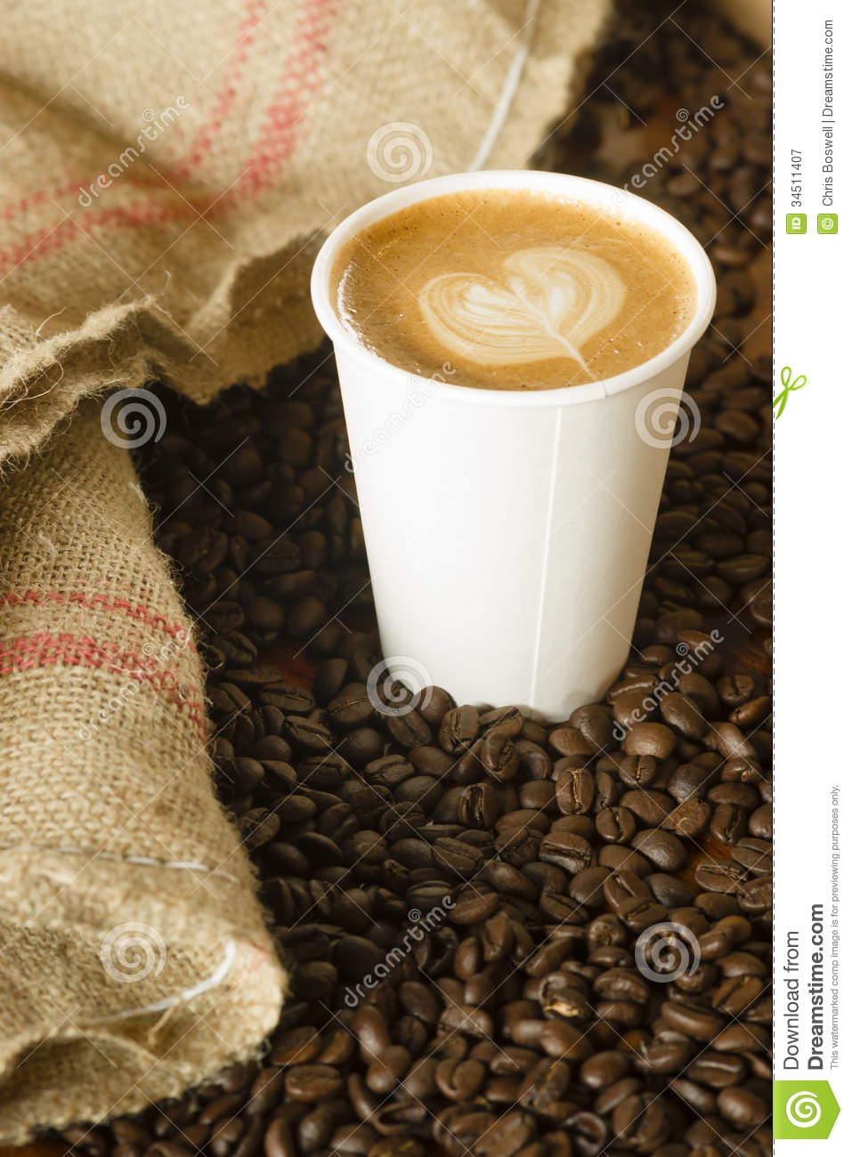 cappuccino to go paper cup burlap bag roasted coffee beans stock image image of fresh burlap. Black Bedroom Furniture Sets. Home Design Ideas