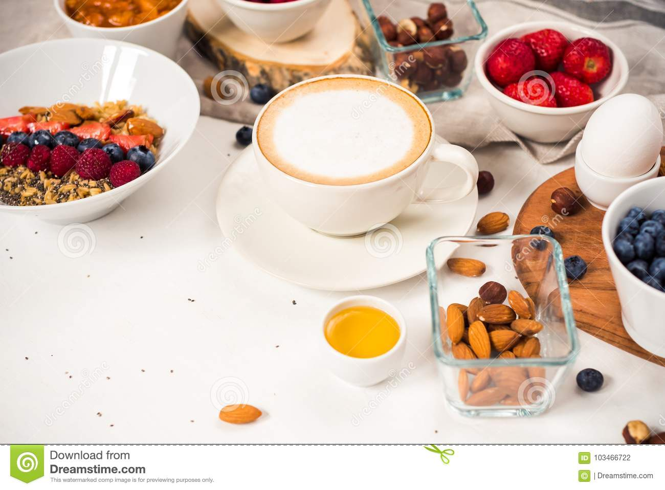 Morning Coffee Breakfast Cappuccino On White Background Good
