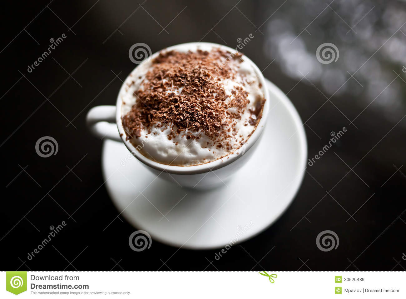 cappuccino in white cup with chocolate sprinkles stock image image