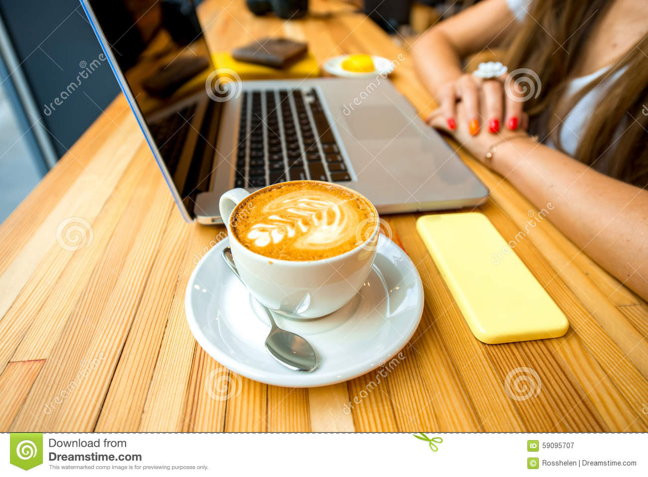 Cappuccino On The Wooden Table Stock Photo Image 59095707