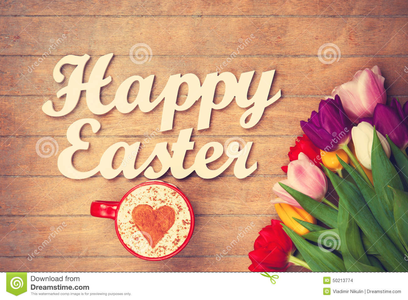 Cappuccino And Words Happy Easter Near Flowers Stock Photo Image