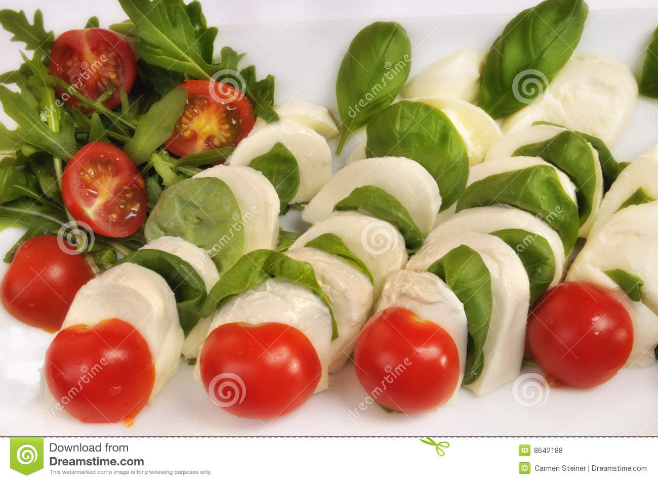 ... Caprese salad with mozzarella cheese, plum tomatoes and basil