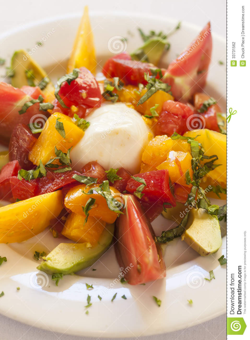 Caprese Salad With Cheese, Tomato And Avocado Stock Photography ...