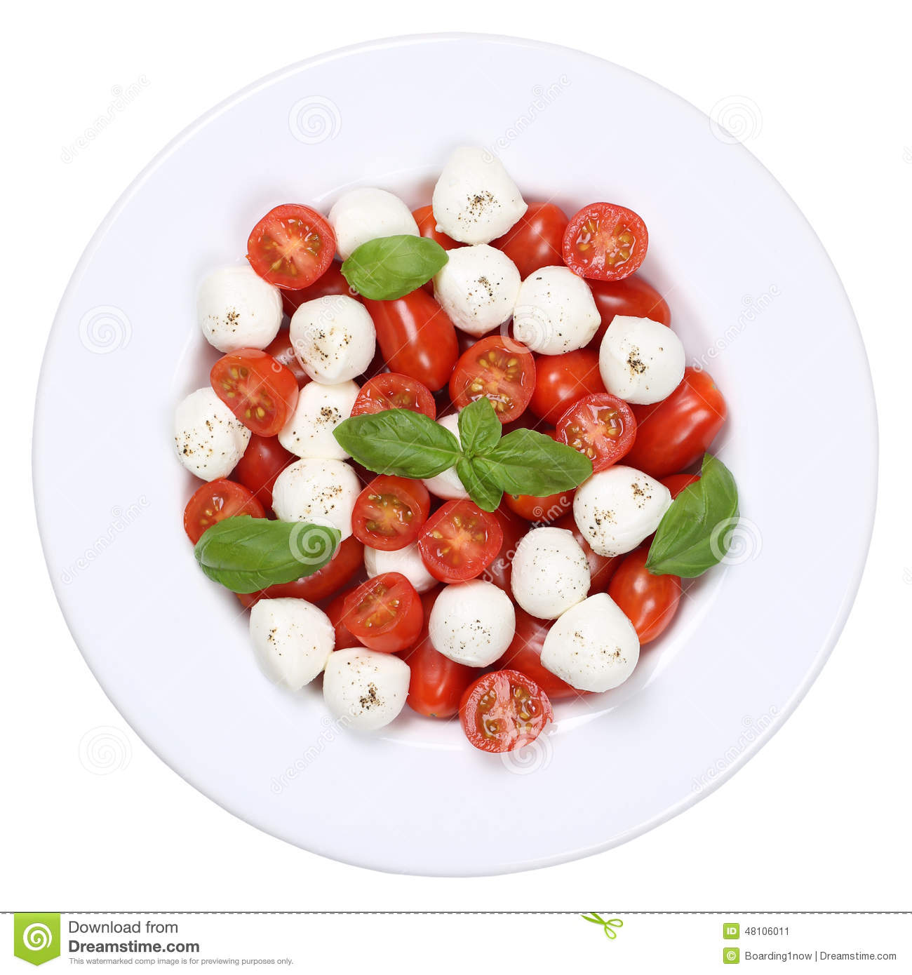 Stock Photo: Caprese salad with cocktail tomatoes and mozzarella from ...
