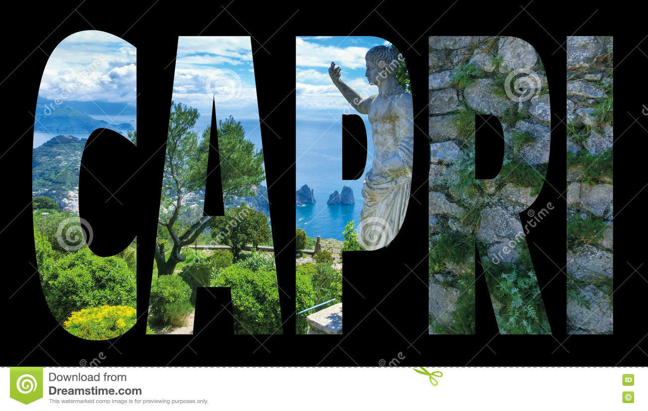 7b0cb9c9c2601 Capri - Island Name Sign With Photo In Background On Black Stock ...