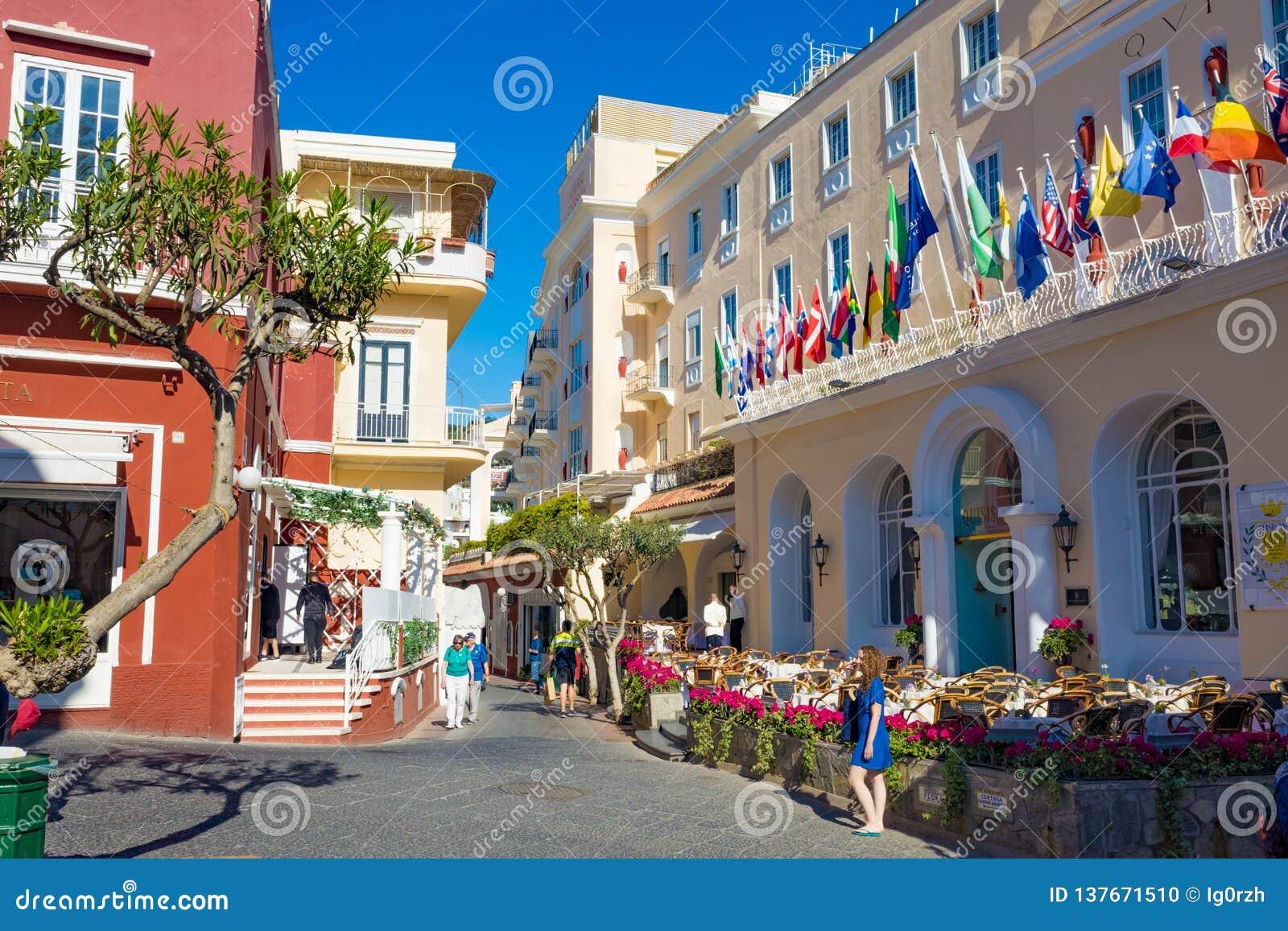 Via Camerelle Near Grand Hotel Quisisana In Sunny Day On Capri