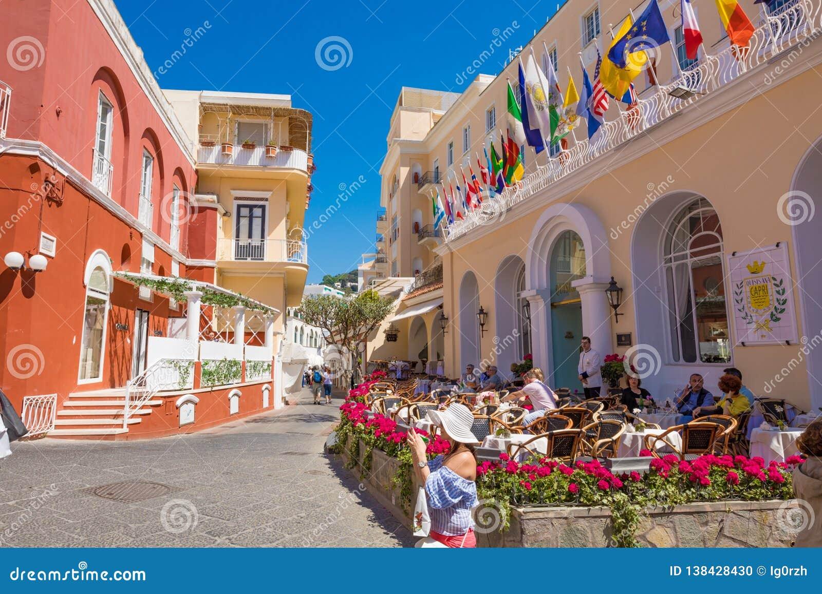Sunny Day On Capri Island Italy Editorial Image Image Of Street