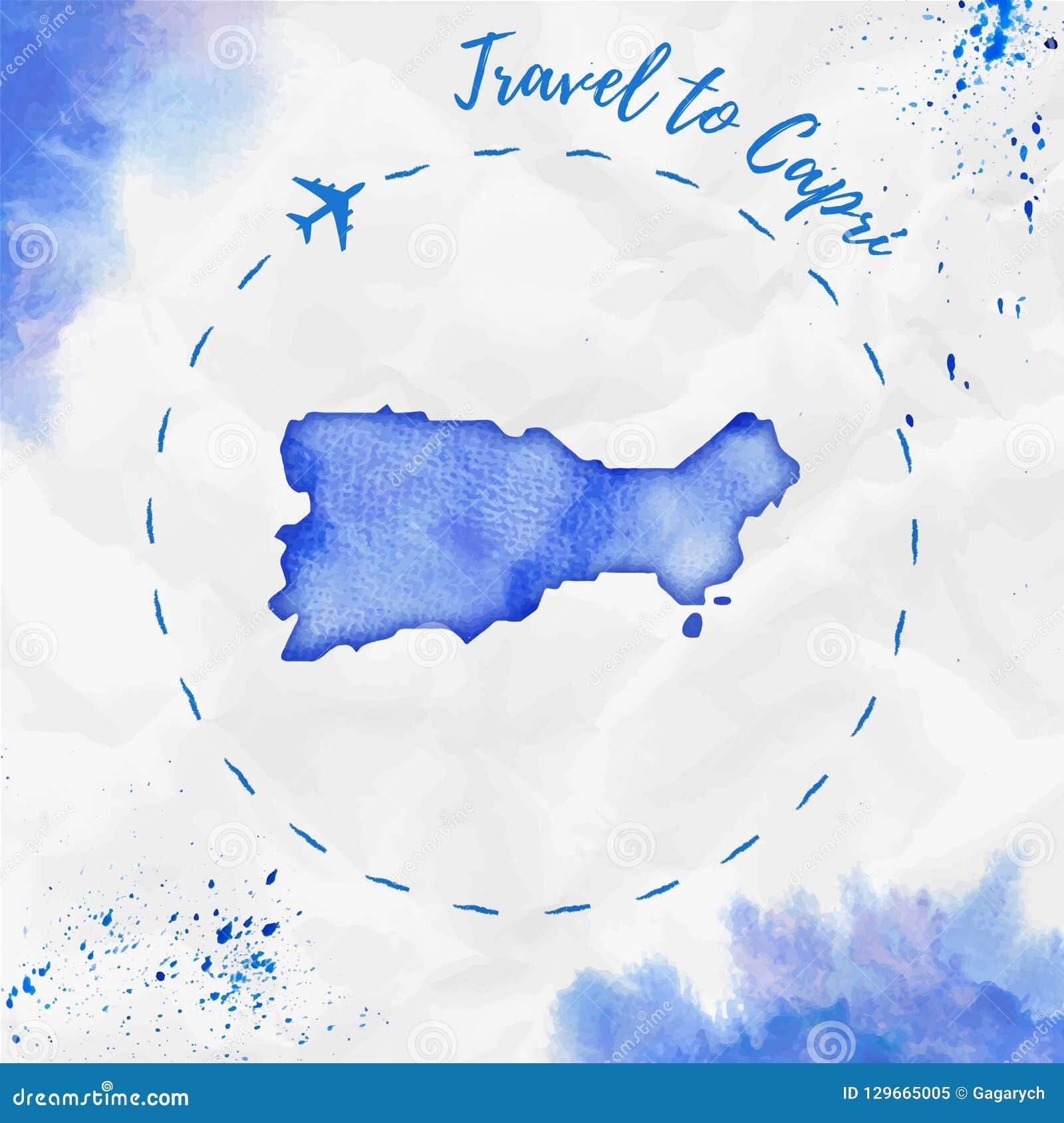 Capri Watercolor Island Map In Blue Colors. Stock Vector ... on