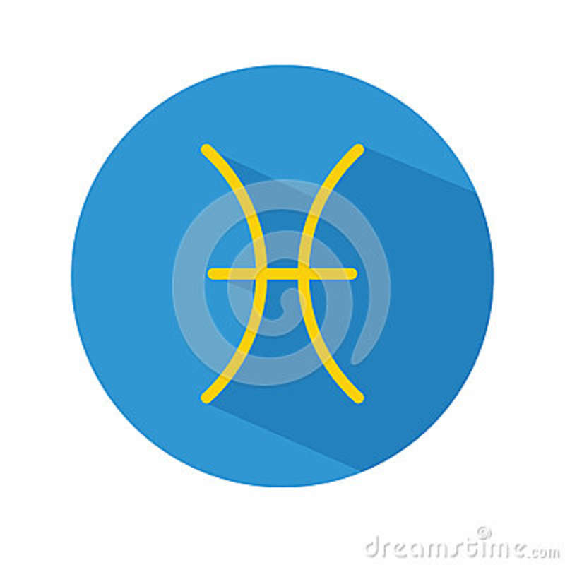 Pisces Classic Astrological Zodiac Sign Vector Icon In Flat Style