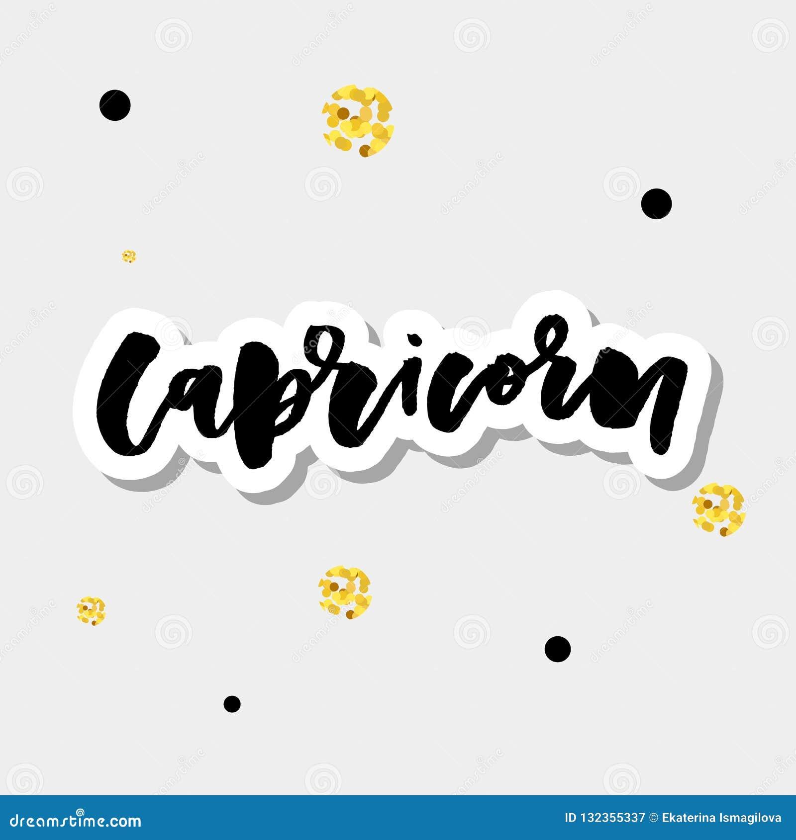 Capricorn lettering Calligraphy Brush Text horoscope Zodiac sign illustration