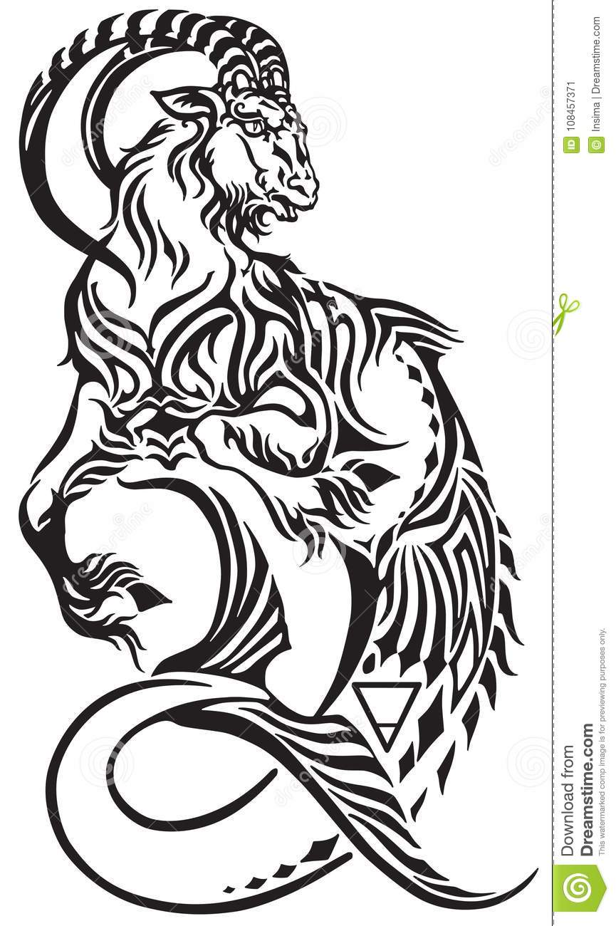 Capricorn Sign Black And White Tribal Tattoo Stock Vector