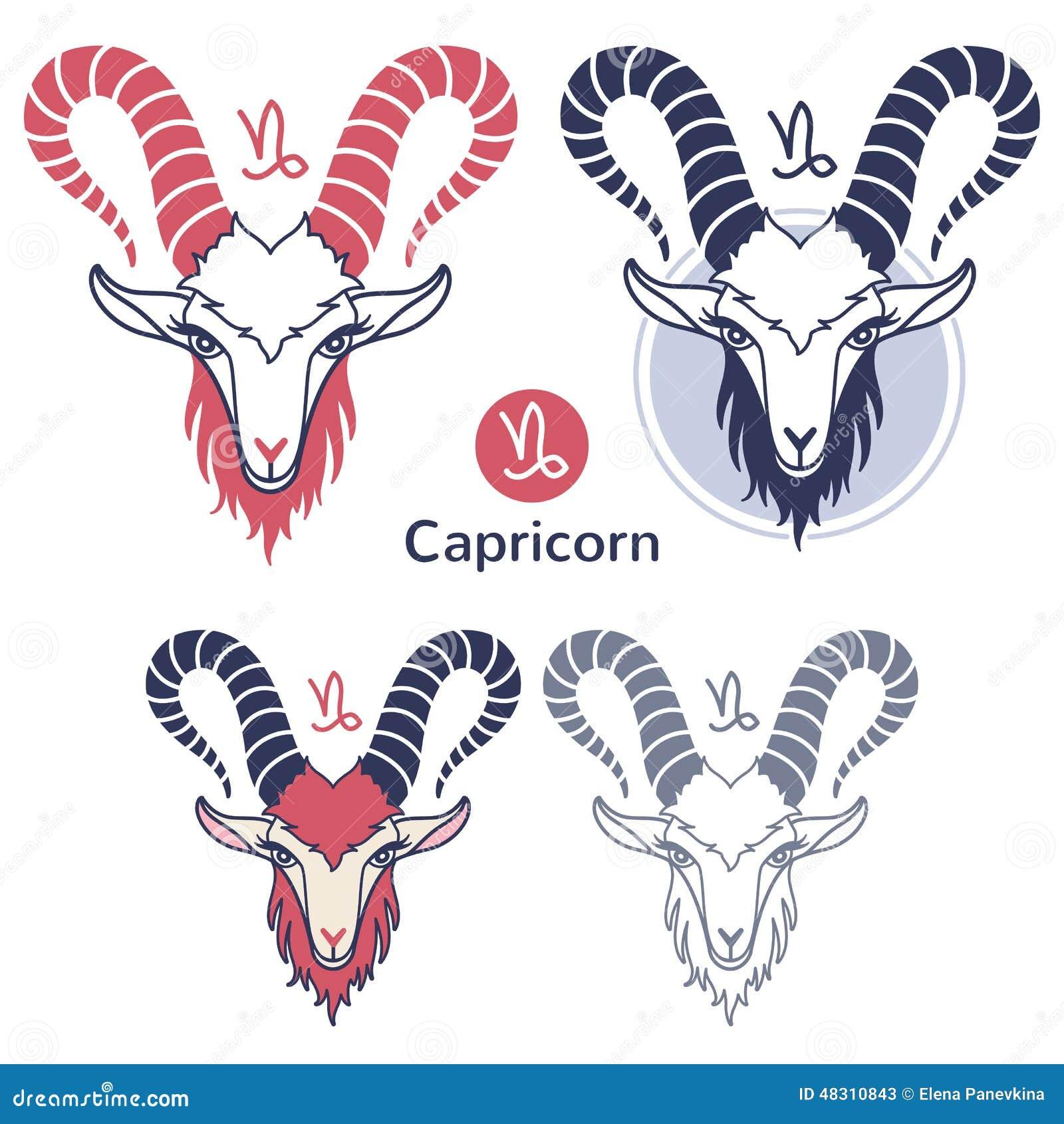 Capricorn zodiac sign set stock vector  Illustration of