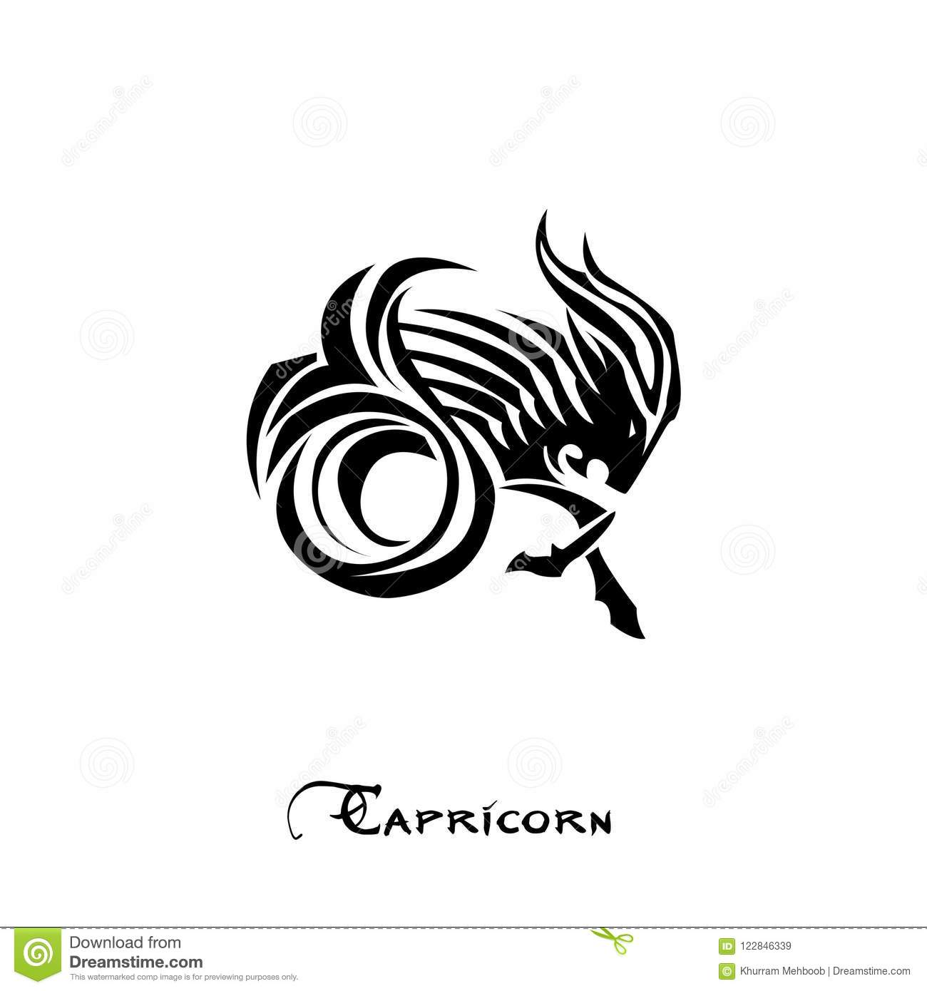 Capricorn Zodiac Sign Tattoo Style Stock Vector Illustration Of