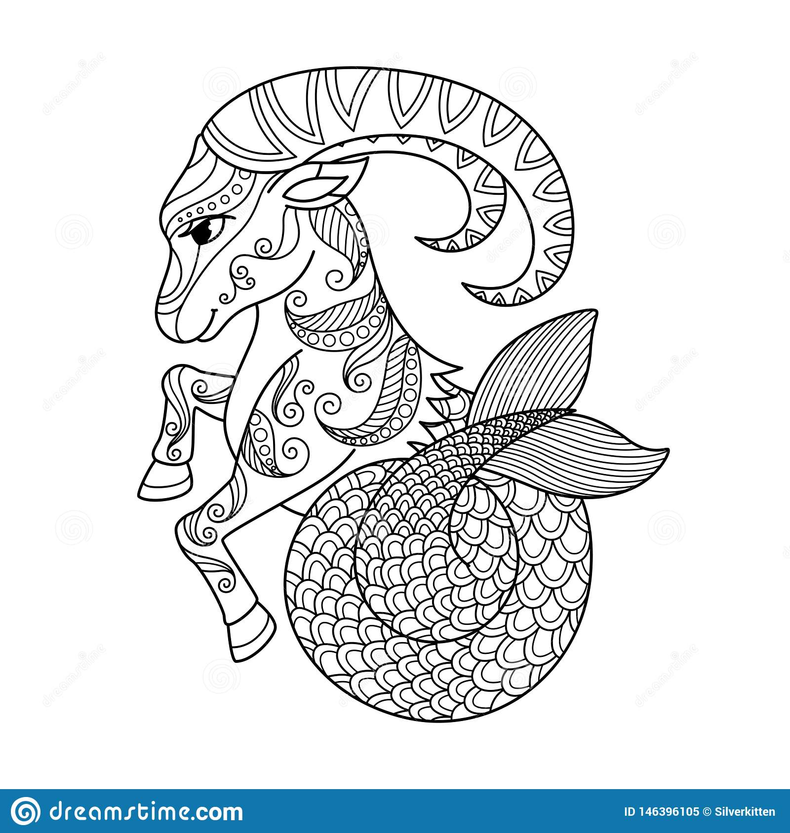 Capricorn Zodiac Sign. Zentangle Coloring Book Page For ...