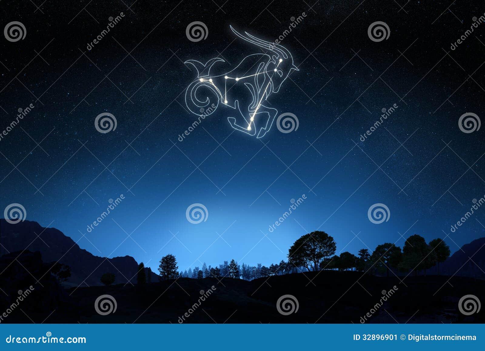 Capricorne de zodiaque avec une étoile et un contour de symbole