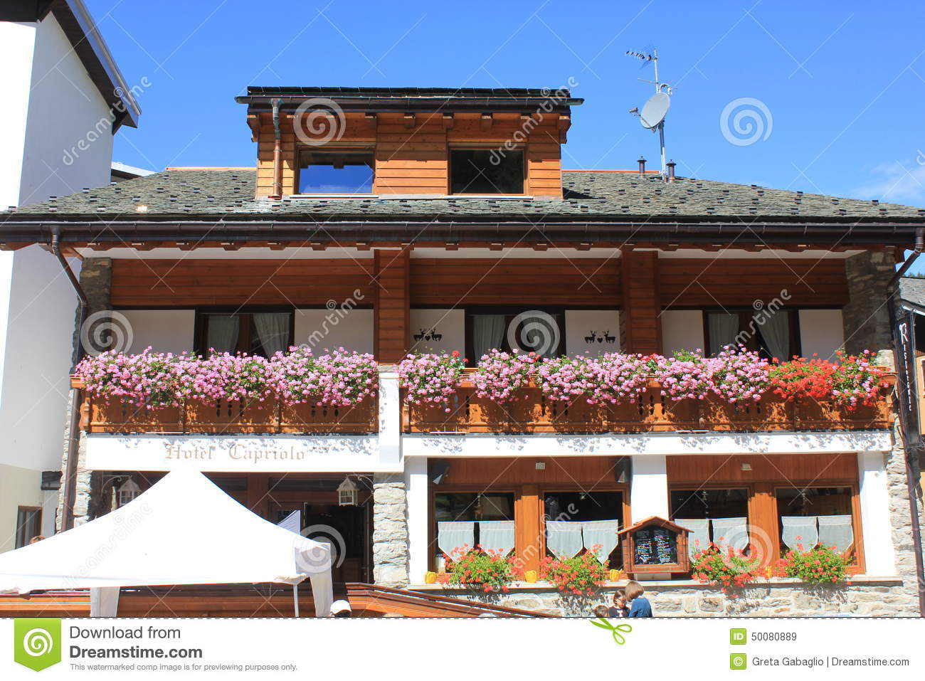 Madesimo Italy  City new picture : MADESIMO, ITALY AUG 21 2014: Capriolo bed and breakfast hotel and ...