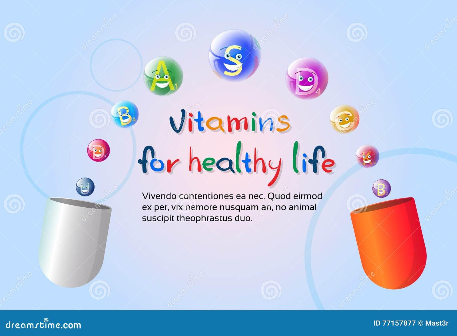 Capsule avec le concept sain d élément de chimie de nutrition de la vie de bannière colorée nutritive de minerais de vitamines