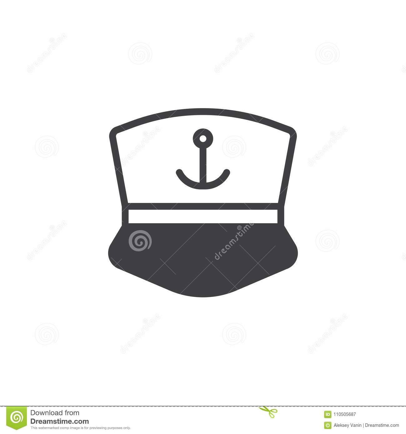 2bd6b28cfd87e Captain cap vector icon. filled flat sign for mobile concept and web  design. Sailor`s cap with anchor simple solid icon. Symbol