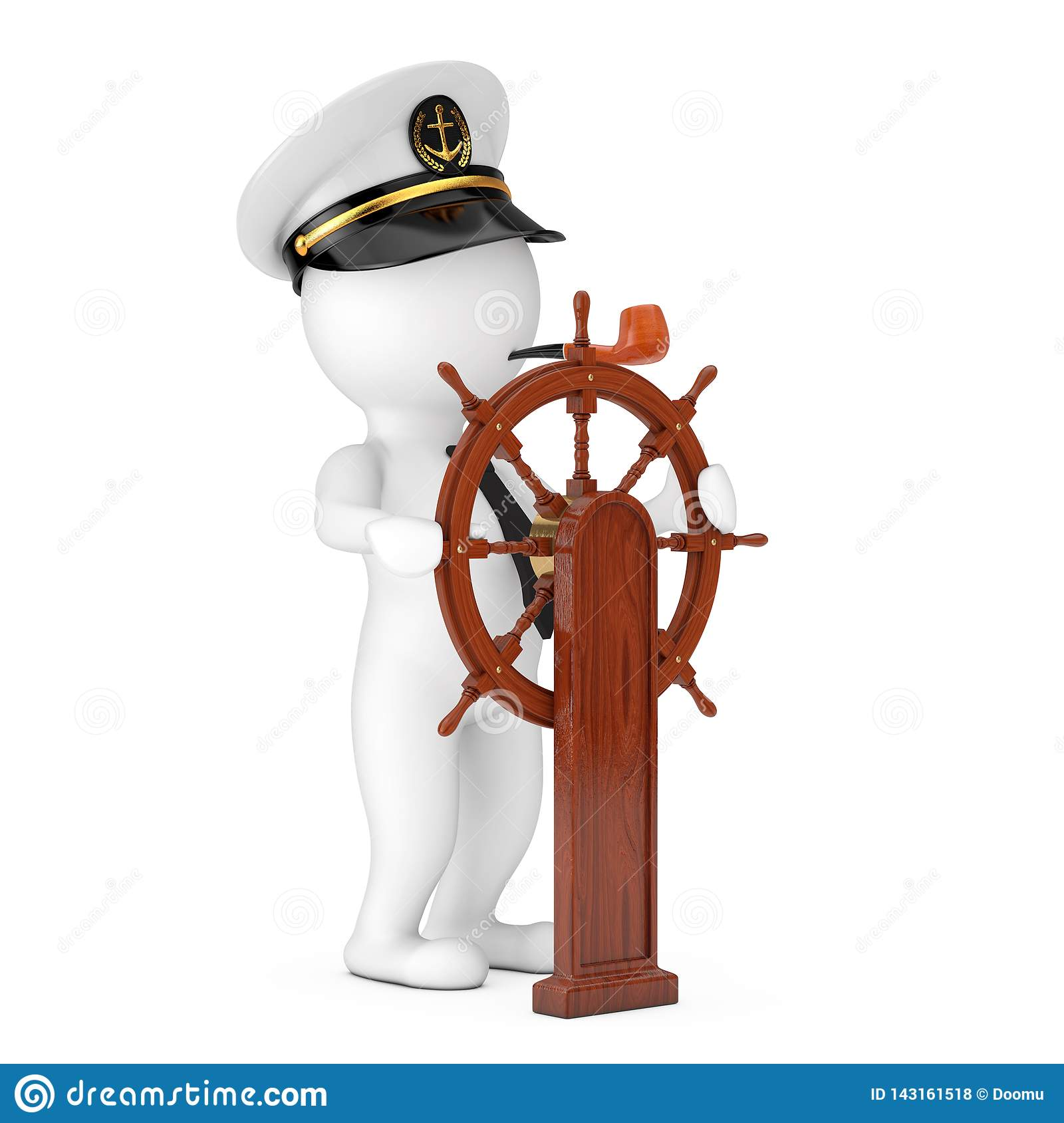 Captain Cartoon Character In Navy Ship Captain Hat With Smoking Pipenear Vintage Wooden Ship Steering Wheel With Stand 3d Stock Illustration Illustration Of Helmsman Helm 143161518