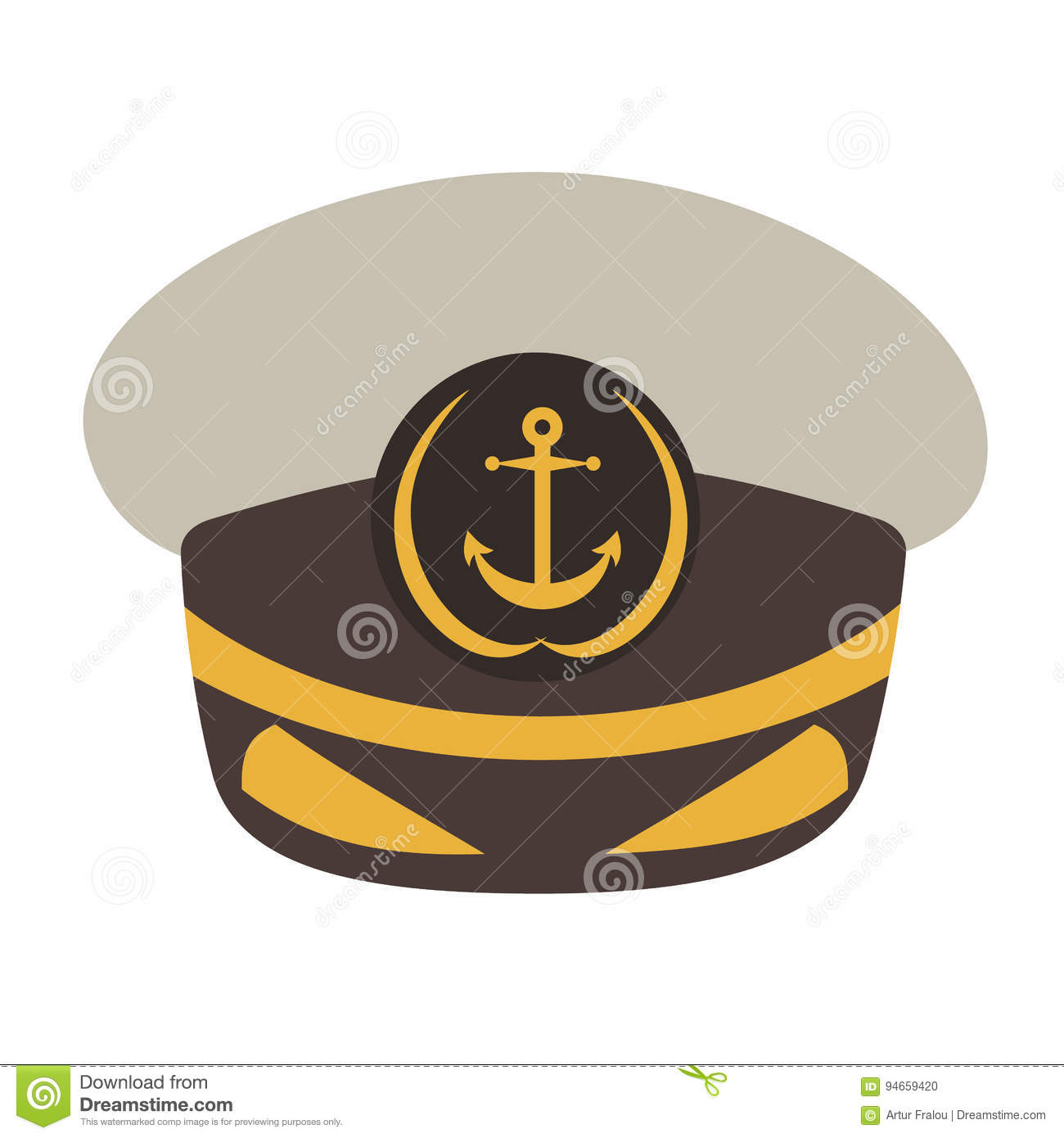 8d30c1337ac Captain hat. Flat style vector illustration isolated on white background