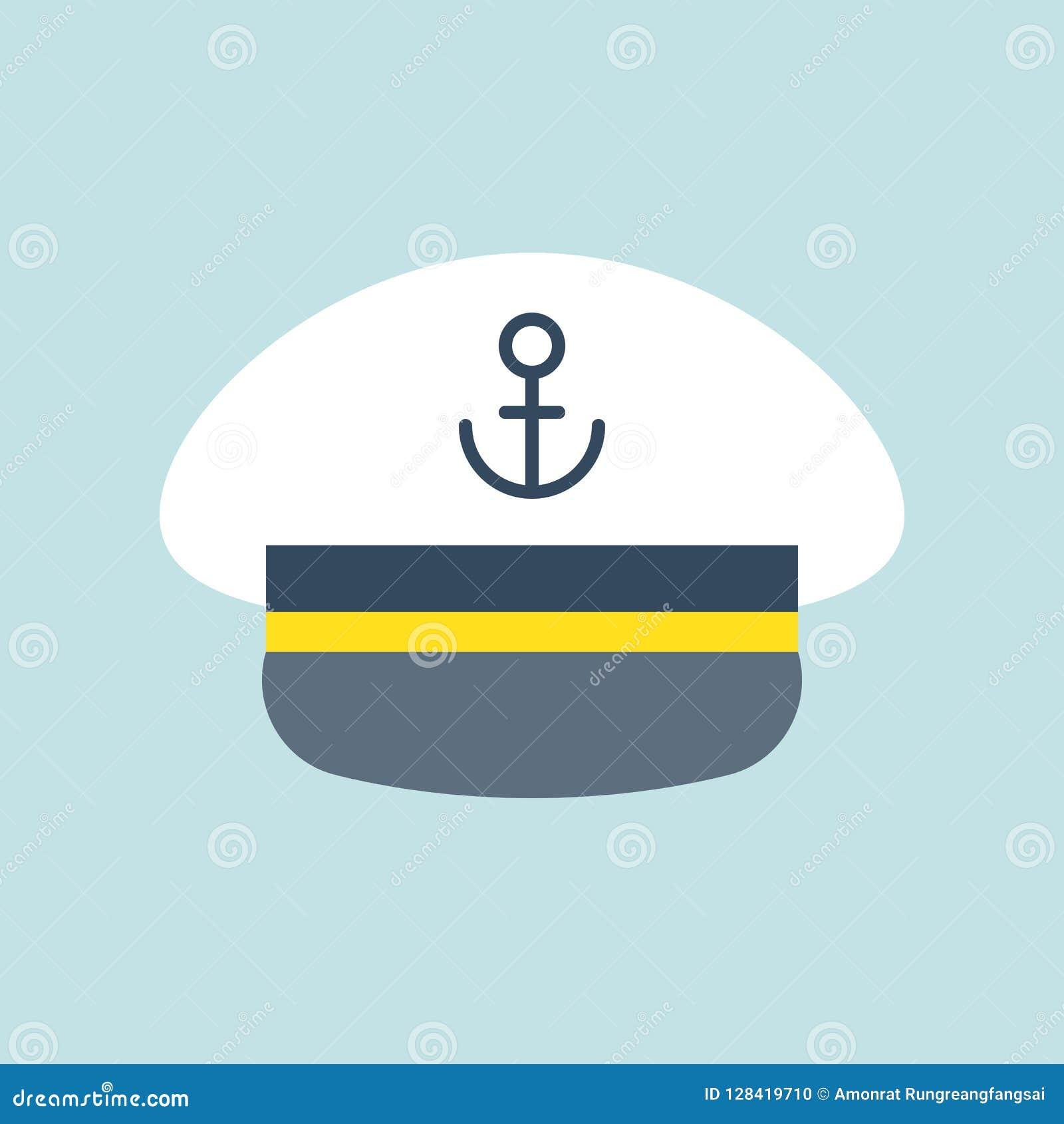 f2438f54 Royalty-Free Vector. Captain sailor hat icon, flat design vector