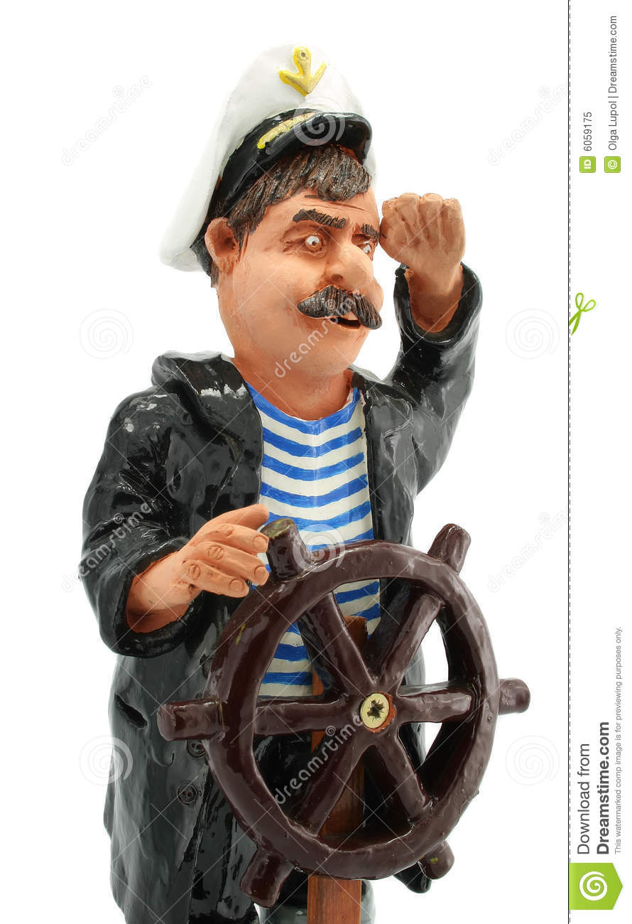 Captain with steering-wheel isolated