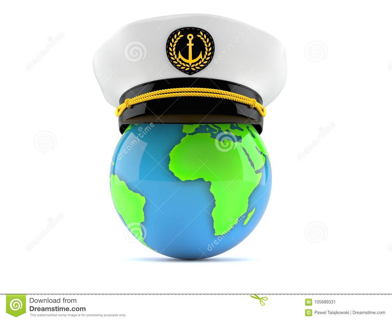 646f271150c Captains hat with globe stock illustration. Illustration of planet ...