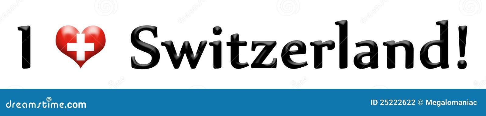 Caption I love Switzerland isolated on white