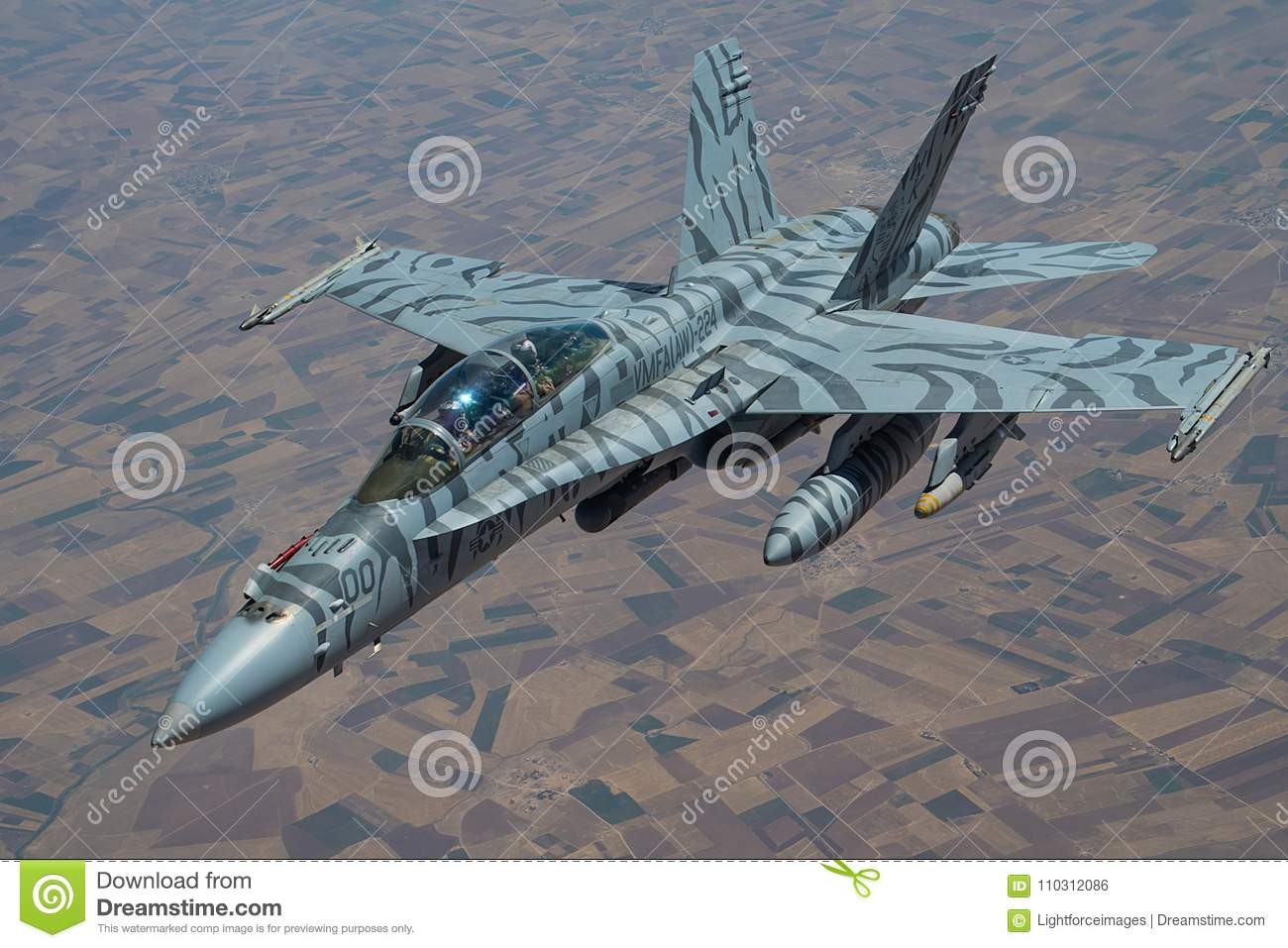 Tiger-Striped F-18 Hornet In Close Formation Editorial ...