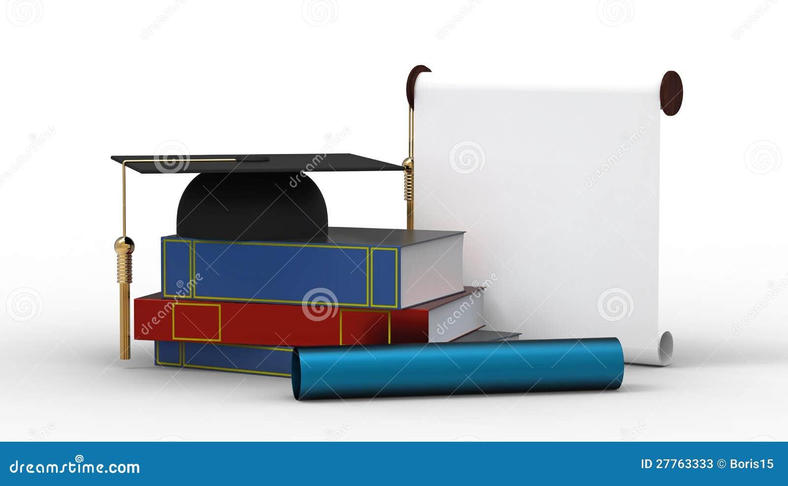 Capuchon, diplôme et livres