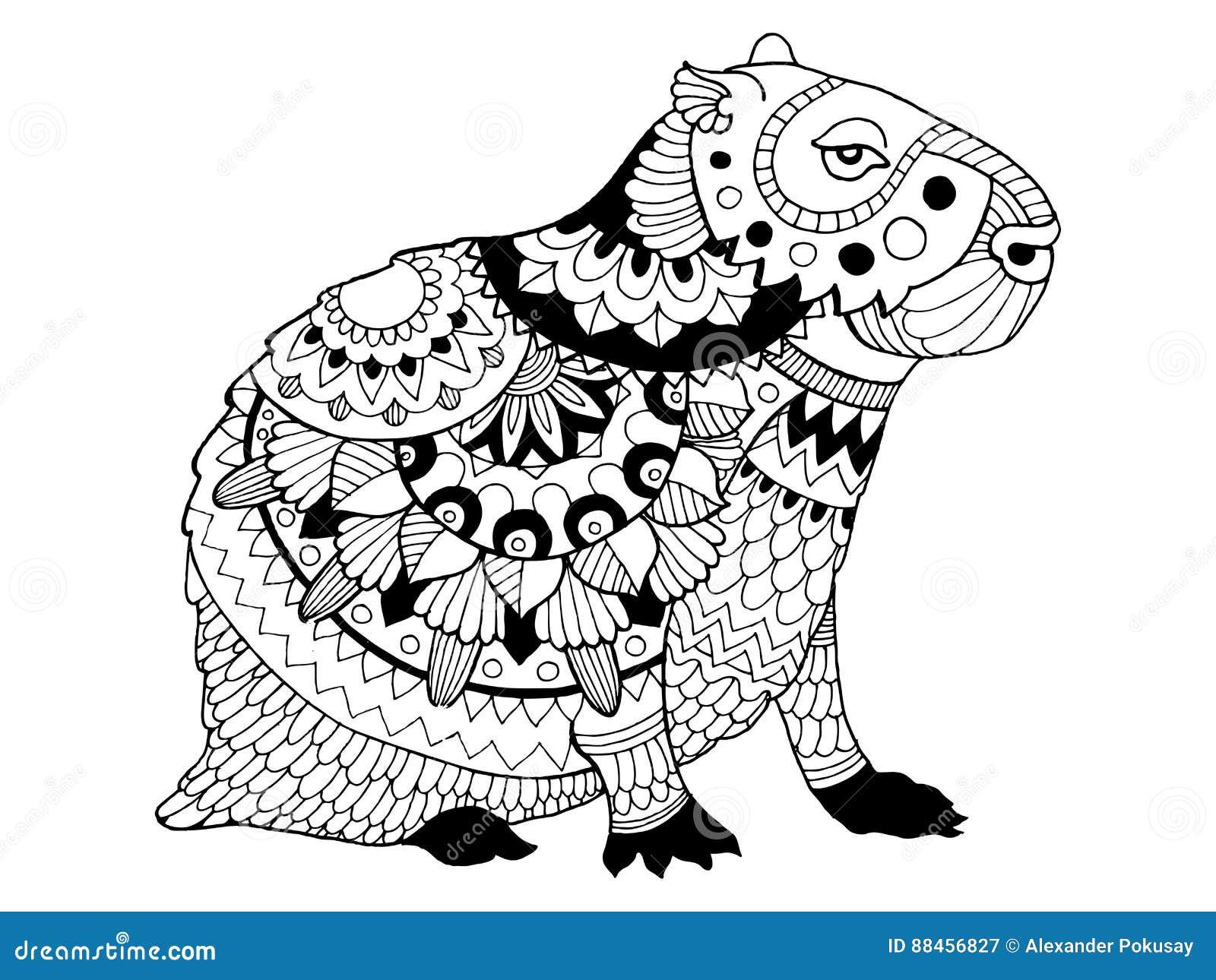 Capybara Coloring Book Vector Illustration Stock Vector ...
