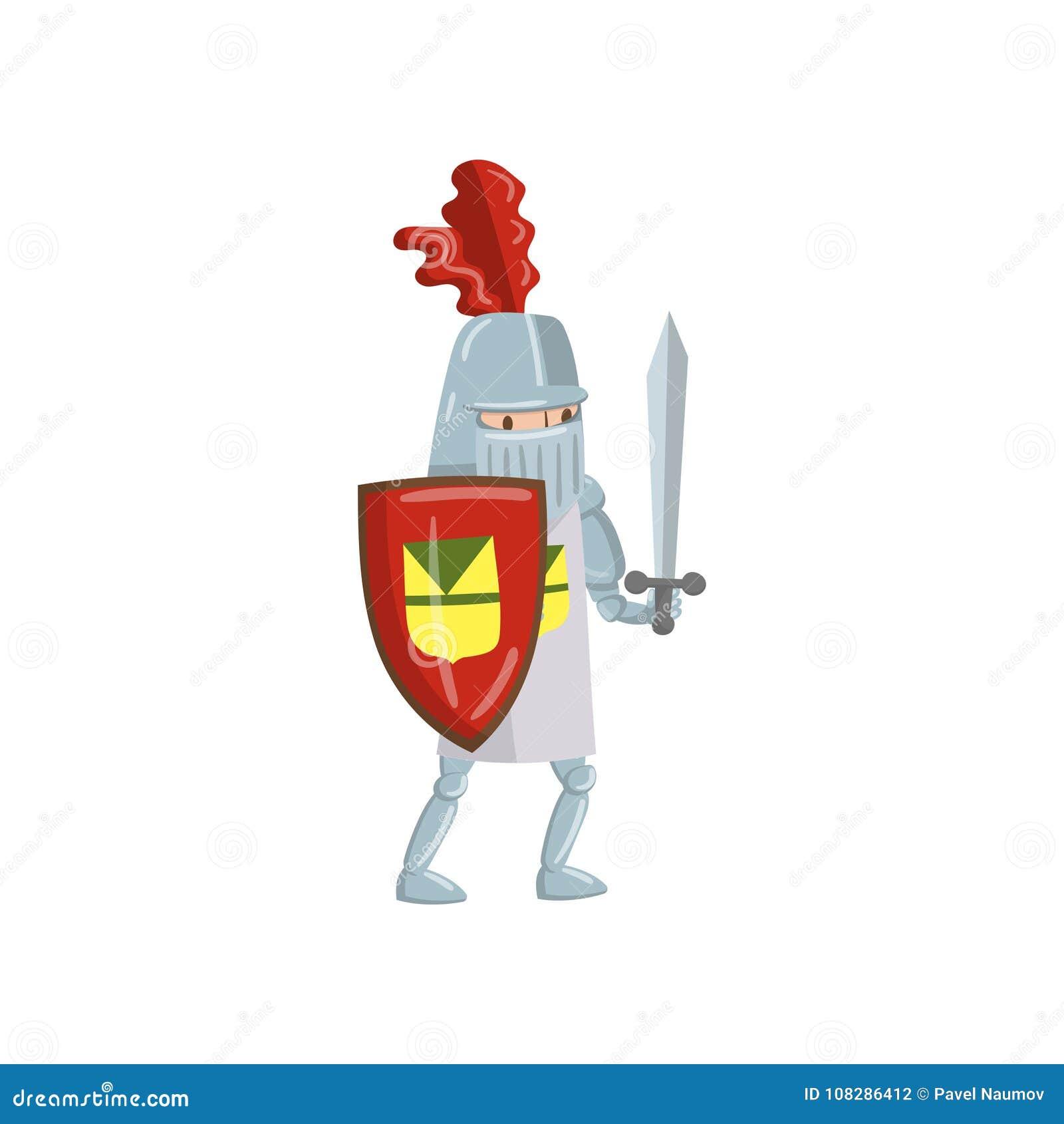 Carácter amed medieval del caballero con el escudo y la espada, cuento de hadas o ejemplo medieval del vector de la historieta de