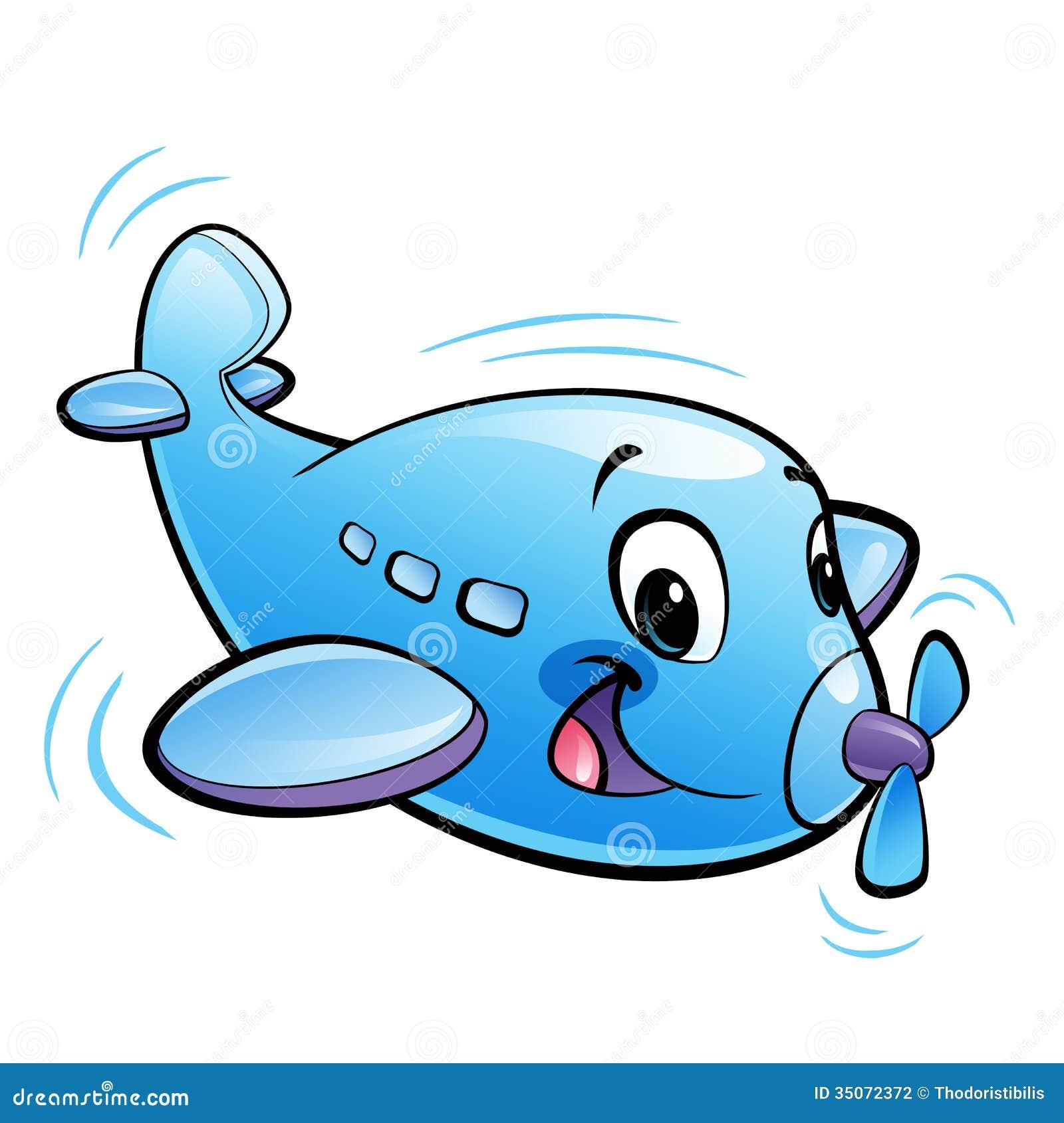 Carácter azul del aeroplano de la historieta linda del bebé con el vuelo del propulsor