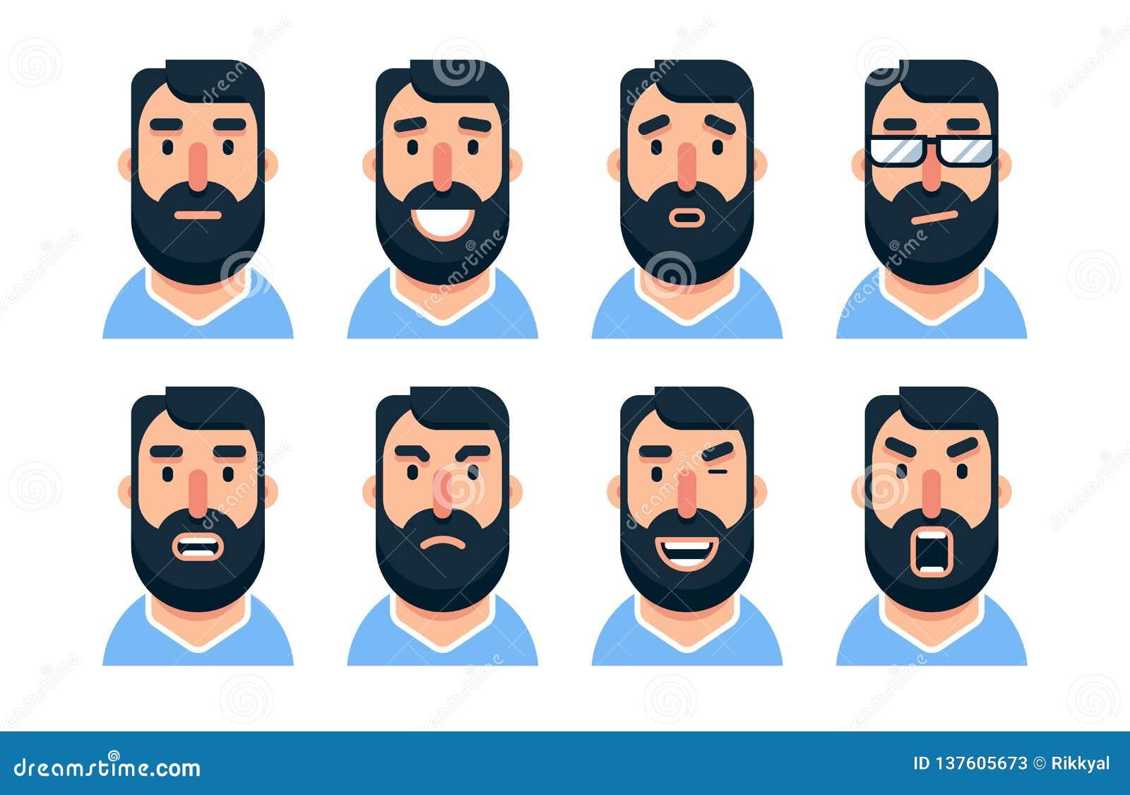 Carácter barbudo del hombre de la historieta con diversas expresiones faciales
