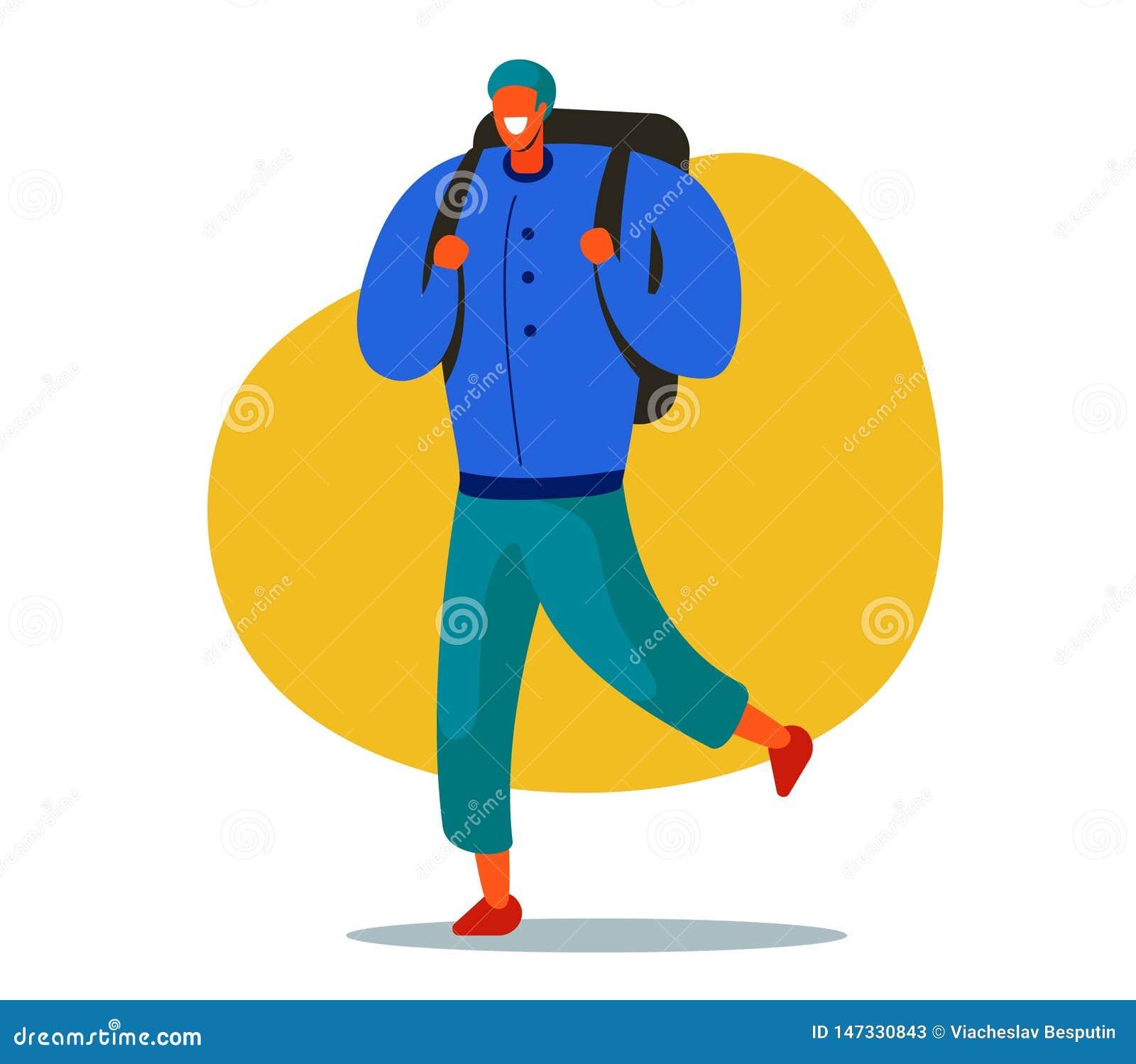 Carácter con una mochila