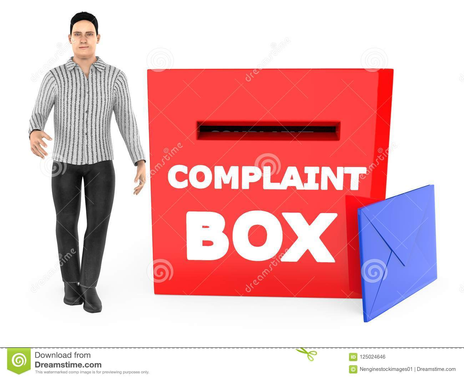 Carácter 3d, hombre y una caja de denuncia con el sobre