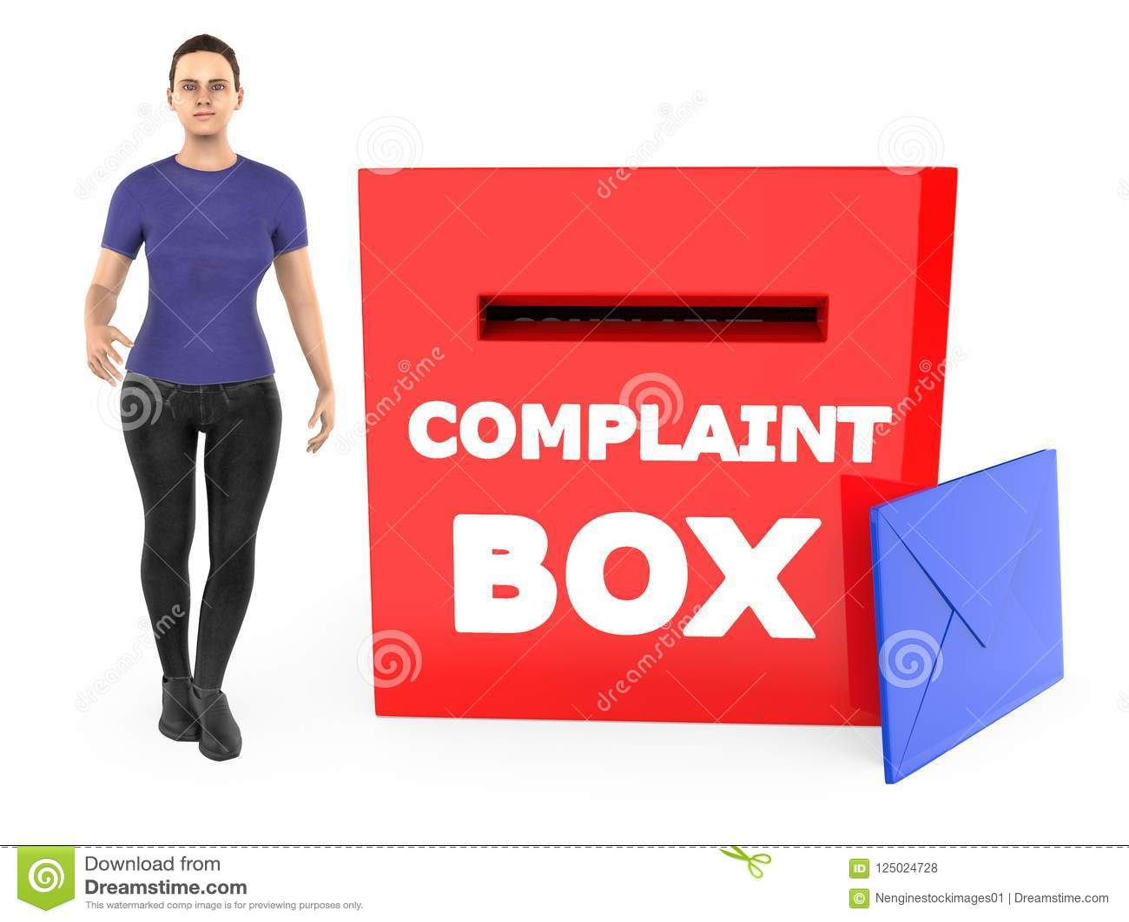 Carácter 3d, mujer y una caja de denuncia con el sobre