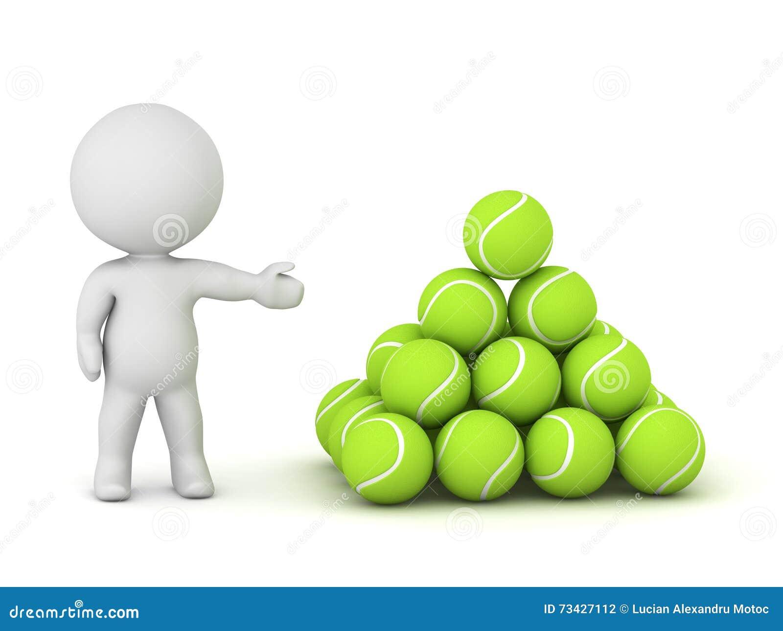 Tenis pelota stock de ilustracion ilustracion libre de stock de - Car Cter 3d Que Muestra La Pila De Pelotas De Tenis