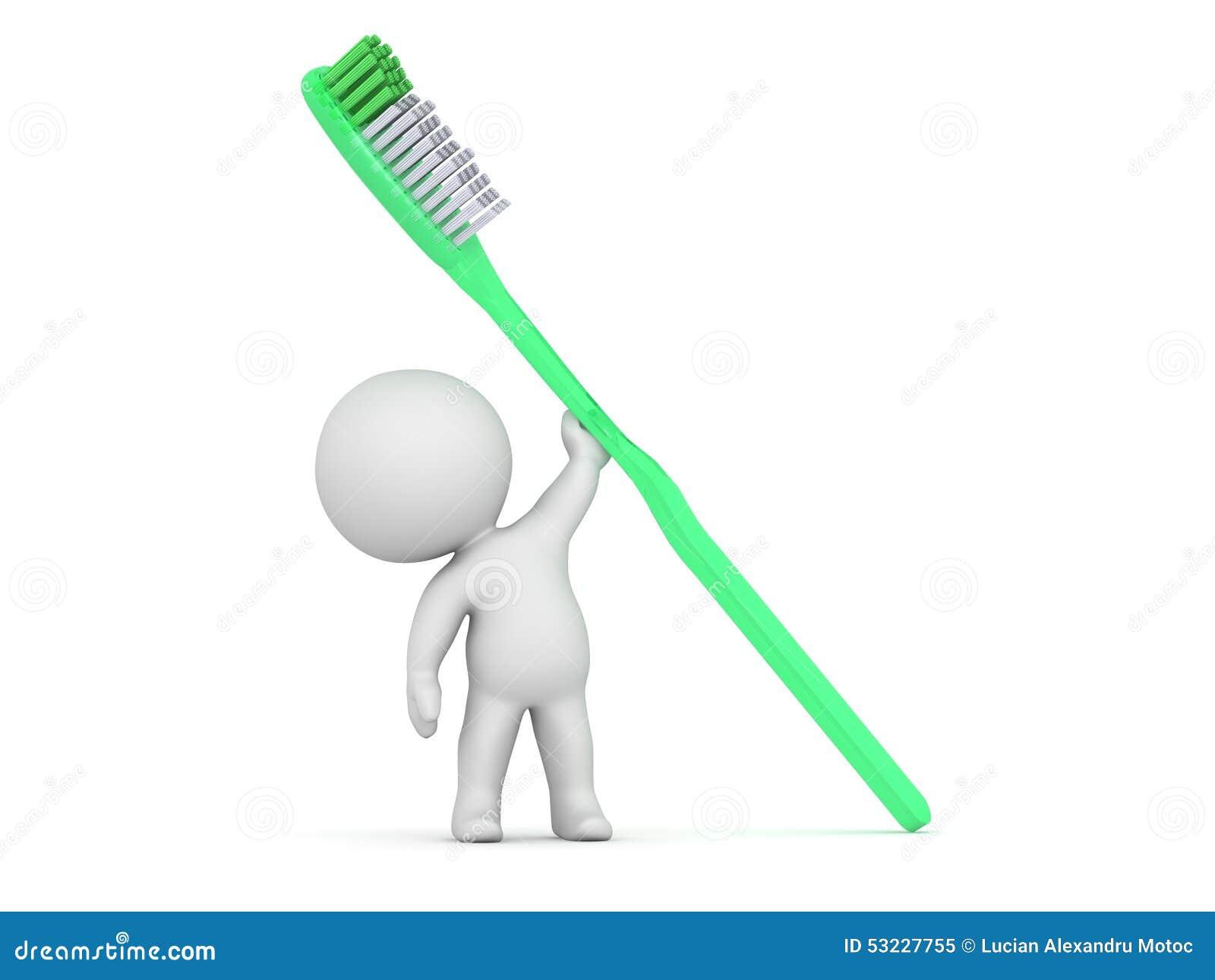 Carácter 3D que sostiene el cepillo de dientes grande