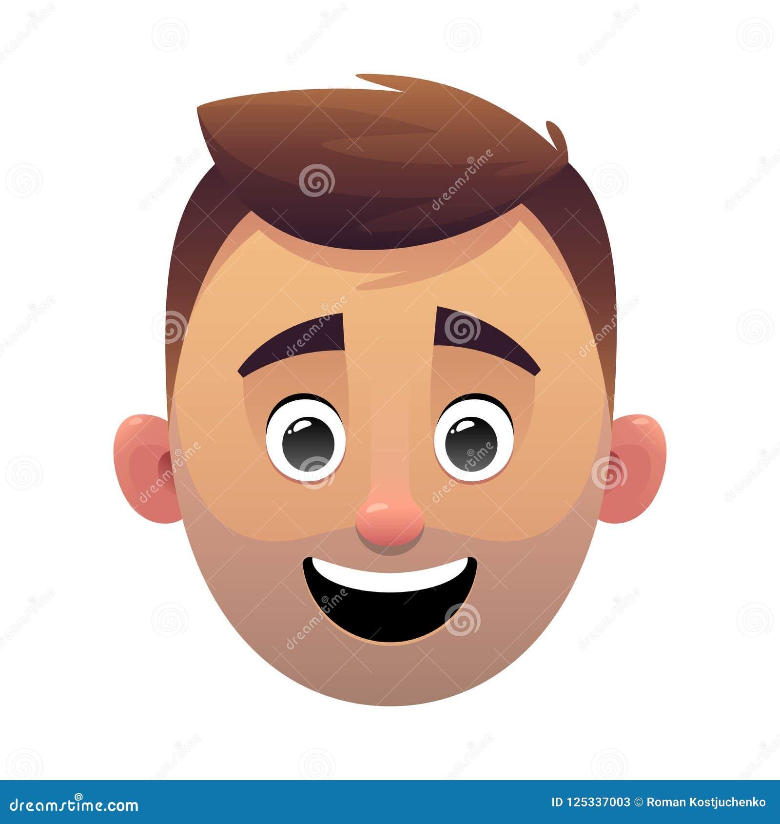 Carácter de la cara de la historieta del avatar de la cabeza del hombre joven