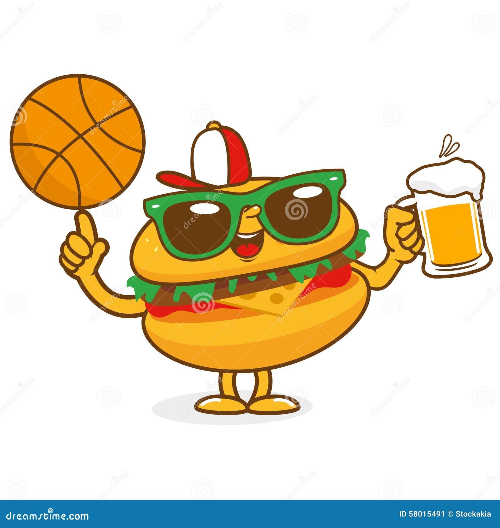 Carácter de la cerveza del baloncesto de la hamburguesa
